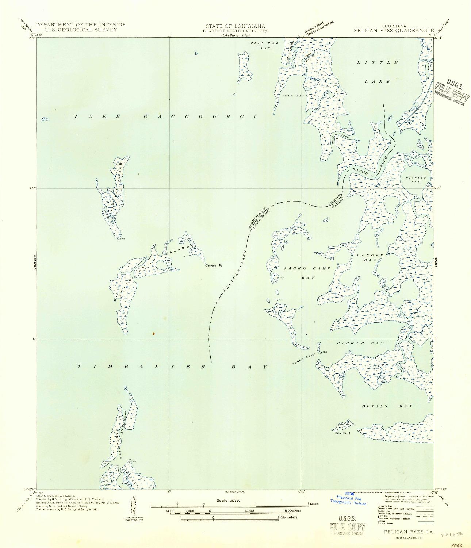 USGS 1:31680-SCALE QUADRANGLE FOR PELICAN PASS, LA 1954