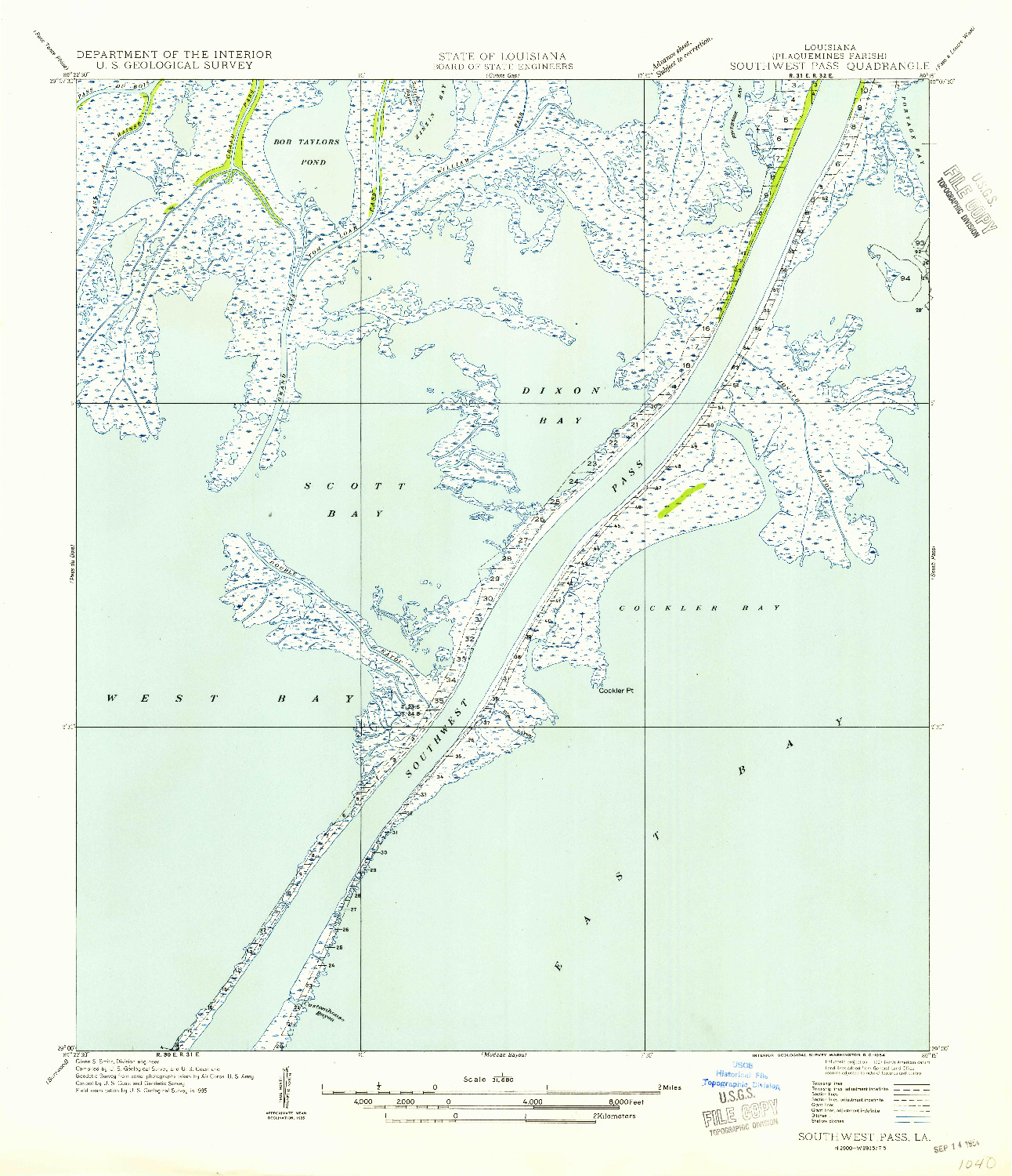 USGS 1:31680-SCALE QUADRANGLE FOR SOUTHWEST PASS, LA 1954