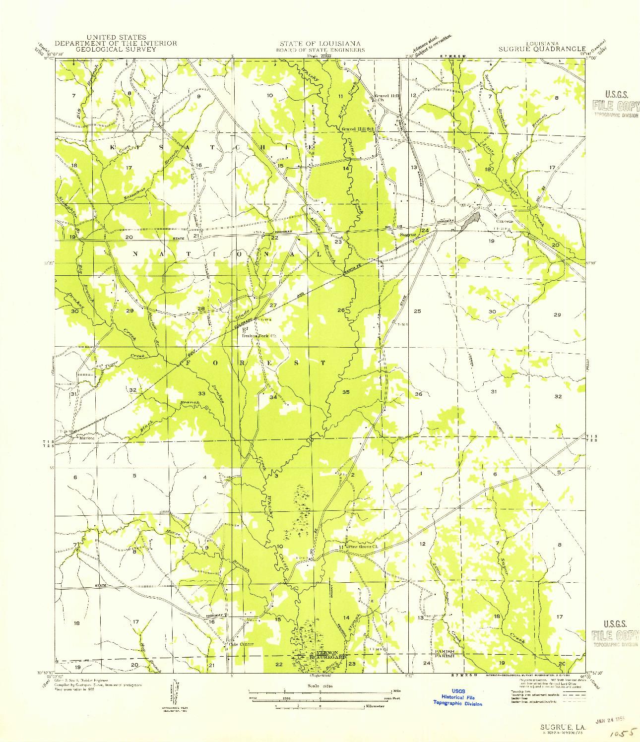 USGS 1:31680-SCALE QUADRANGLE FOR SUGRUE, LA 1954
