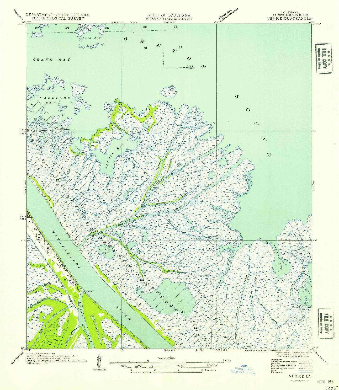 USGS 1:31680-SCALE QUADRANGLE FOR VENICE, LA 1954