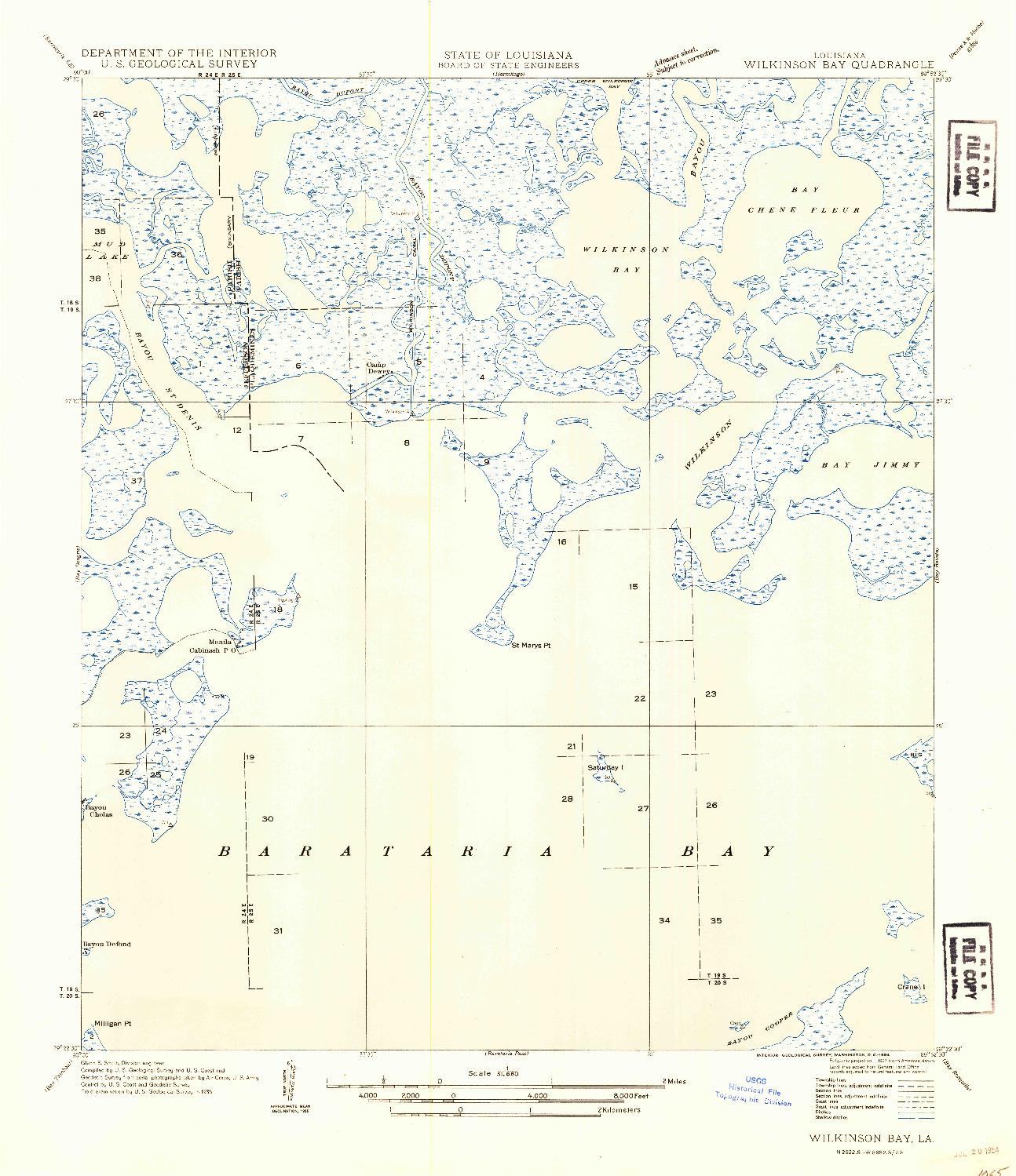 USGS 1:31680-SCALE QUADRANGLE FOR WILKINSON BAY, LA 1935