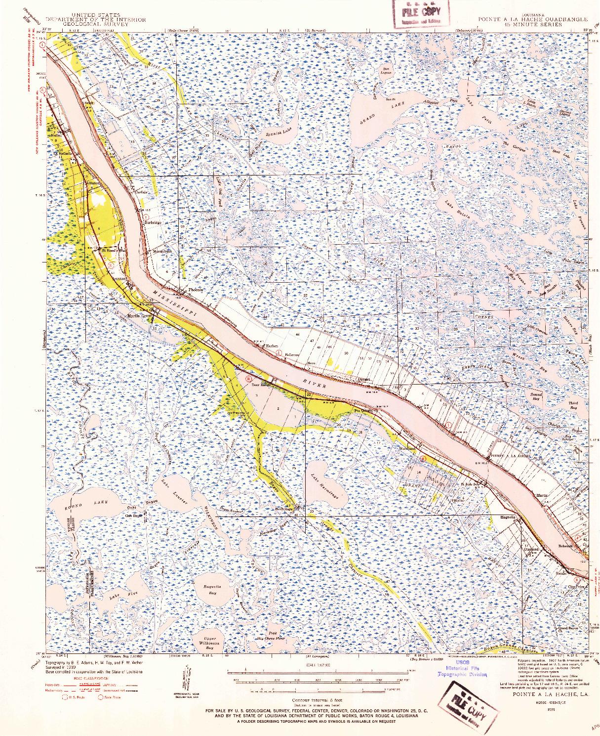 USGS 1:62500-SCALE QUADRANGLE FOR POINTE A LA HACHE, LA 1939
