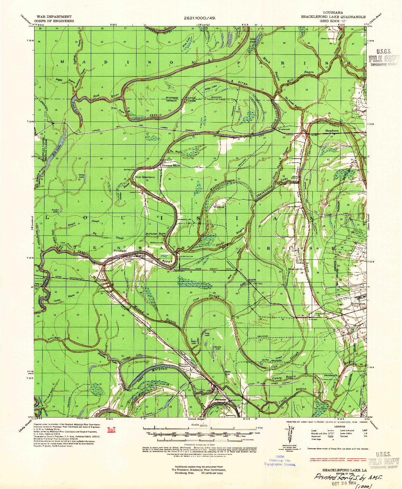 USGS 1:62500-SCALE QUADRANGLE FOR SHACKLEFORD LAKE, LA 1935