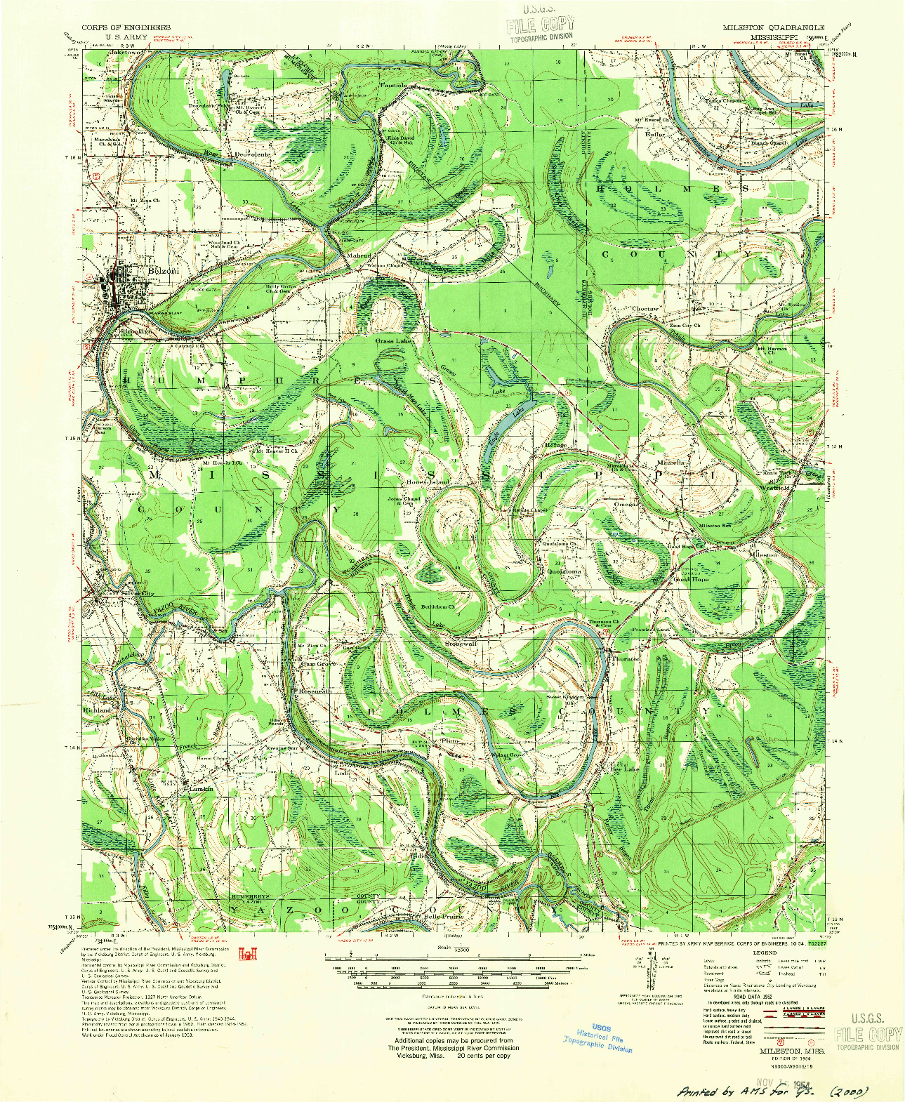 USGS 1:62500-SCALE QUADRANGLE FOR MILESTON, MS 1954