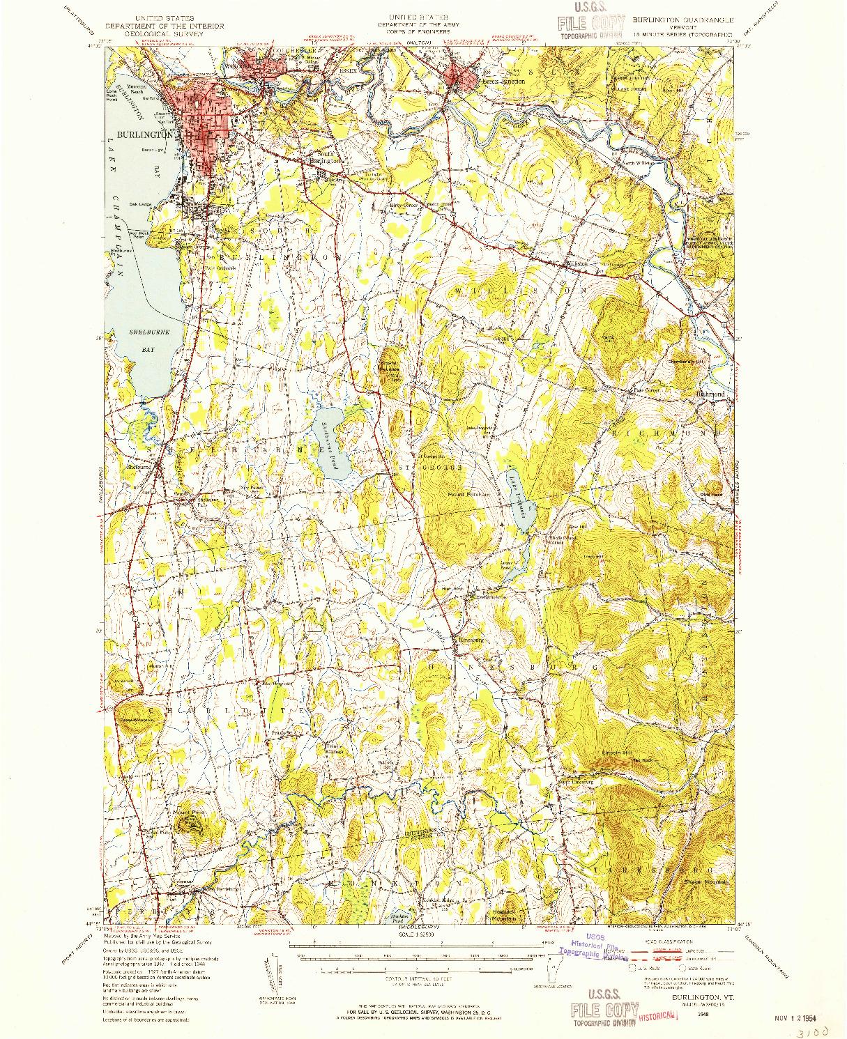 USGS 1:62500-SCALE QUADRANGLE FOR BURLINGTON, VT 1948