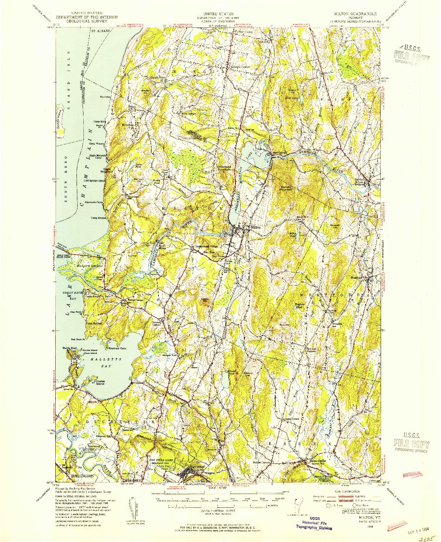 USGS 1:62500-SCALE QUADRANGLE FOR MILTON, VT 1948