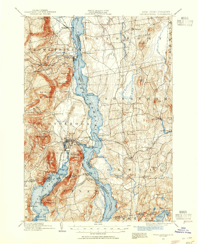 USGS 1:62500-SCALE QUADRANGLE FOR TICONDEROGA, VT 1894