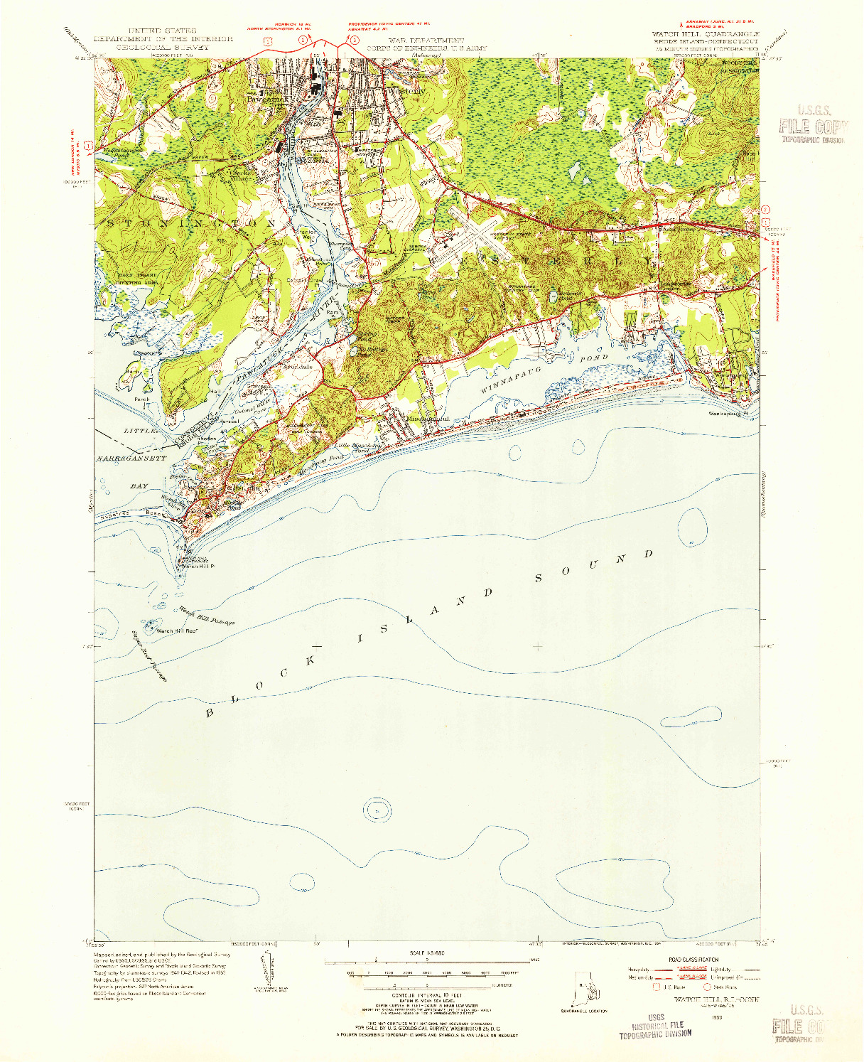USGS 1:31680-SCALE QUADRANGLE FOR WATCH HILL, RI 1953