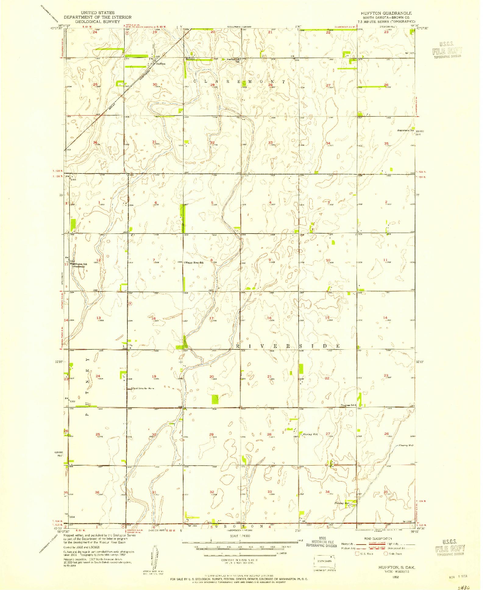 USGS 1:24000-SCALE QUADRANGLE FOR HUFFTON, SD 1952