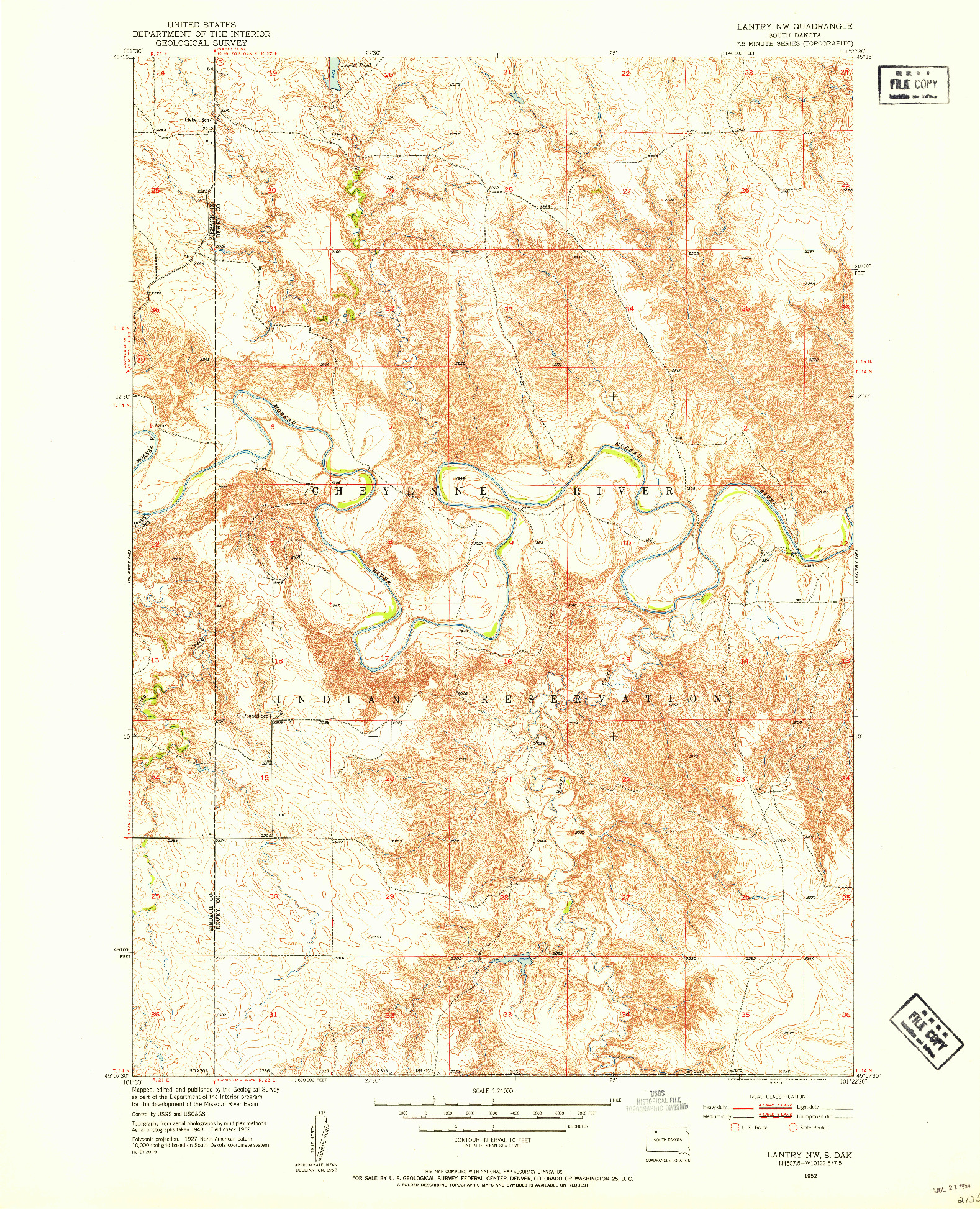 USGS 1:24000-SCALE QUADRANGLE FOR LANTRY NW, SD 1952