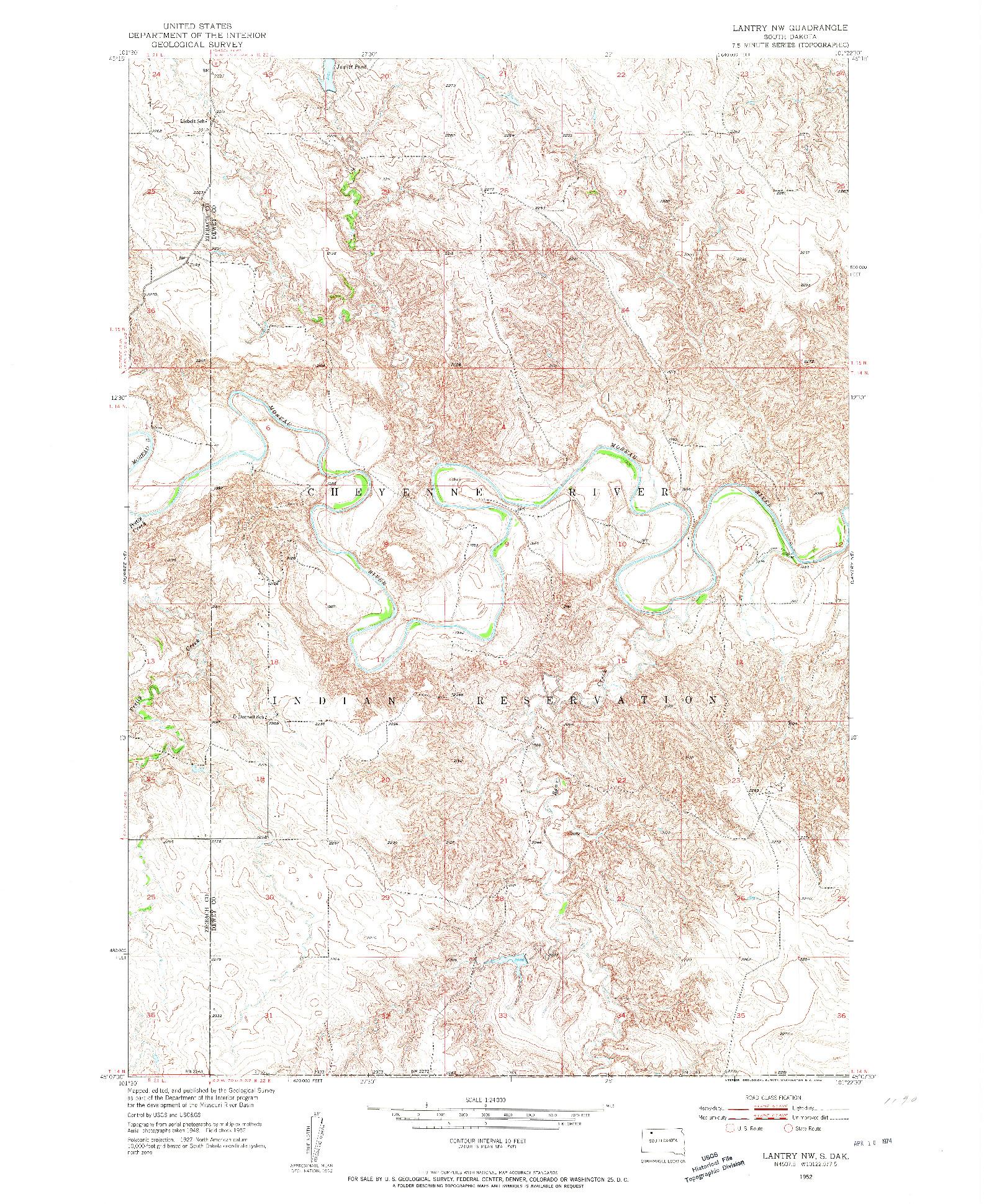 USGS 1:24000-SCALE QUADRANGLE FOR LANTRY NW, SD 1952