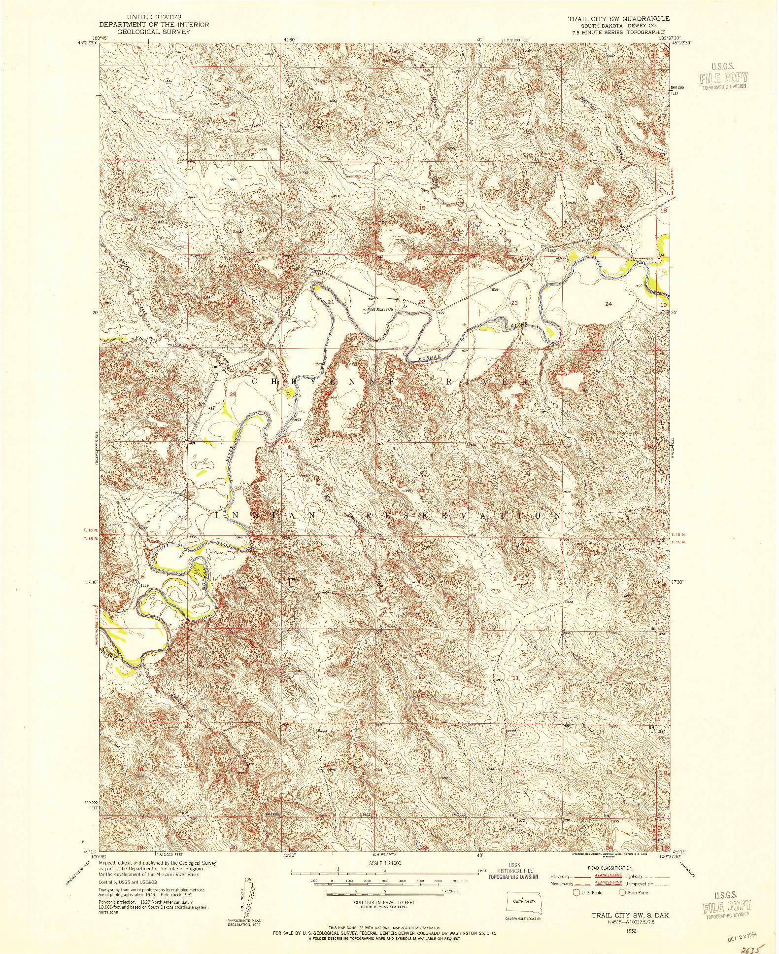 USGS 1:24000-SCALE QUADRANGLE FOR TRAIL CITY SW, SD 1952