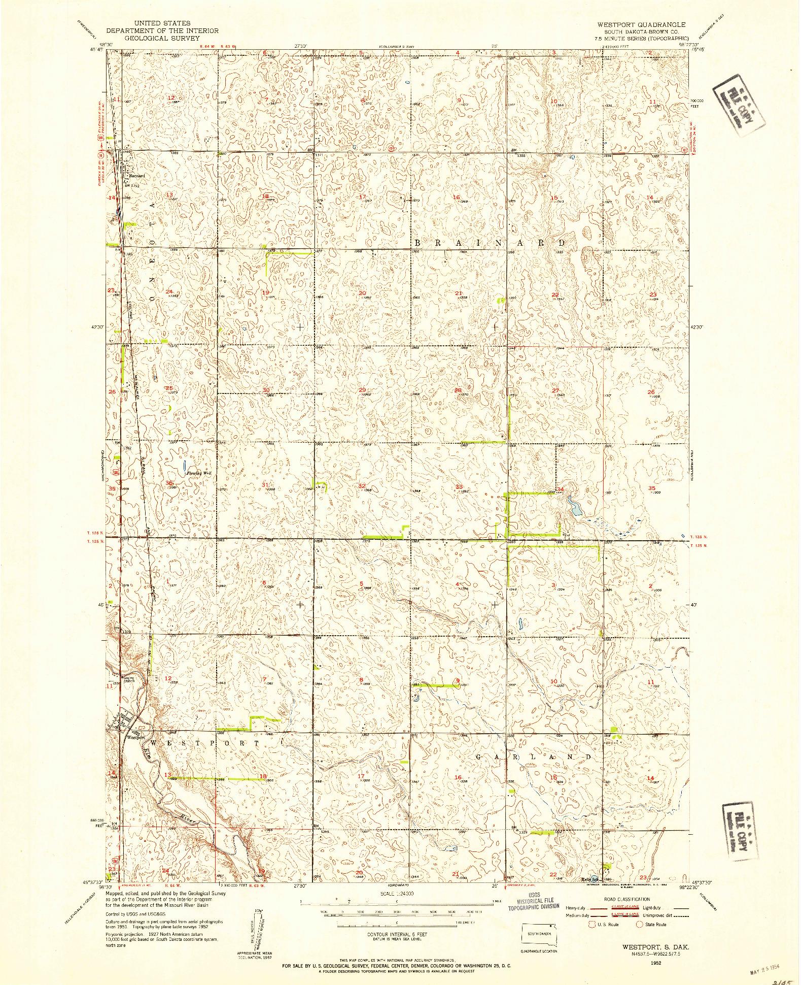 USGS 1:24000-SCALE QUADRANGLE FOR WESTPORT, SD 1952
