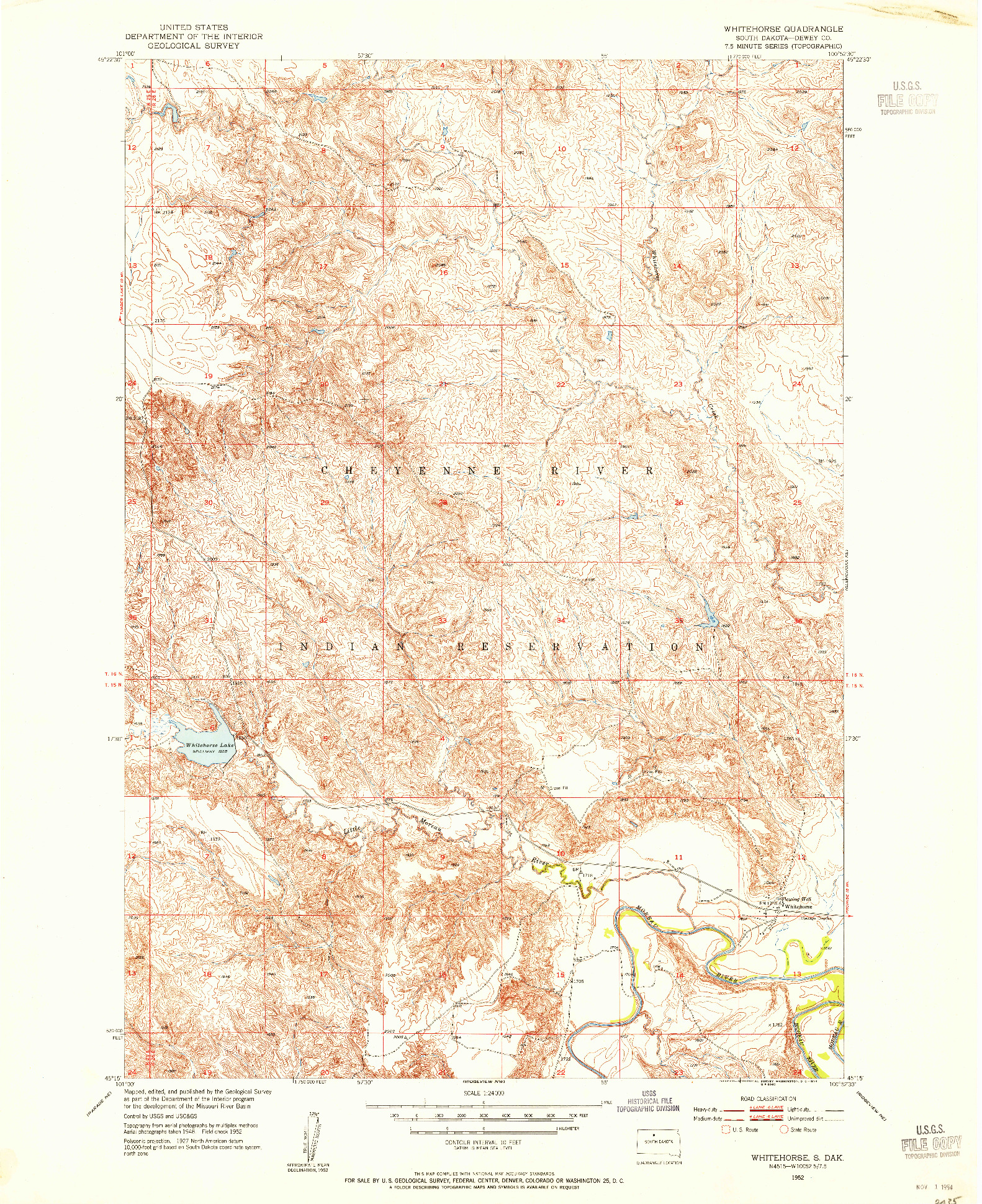 USGS 1:24000-SCALE QUADRANGLE FOR WHITEHORSE, SD 1952
