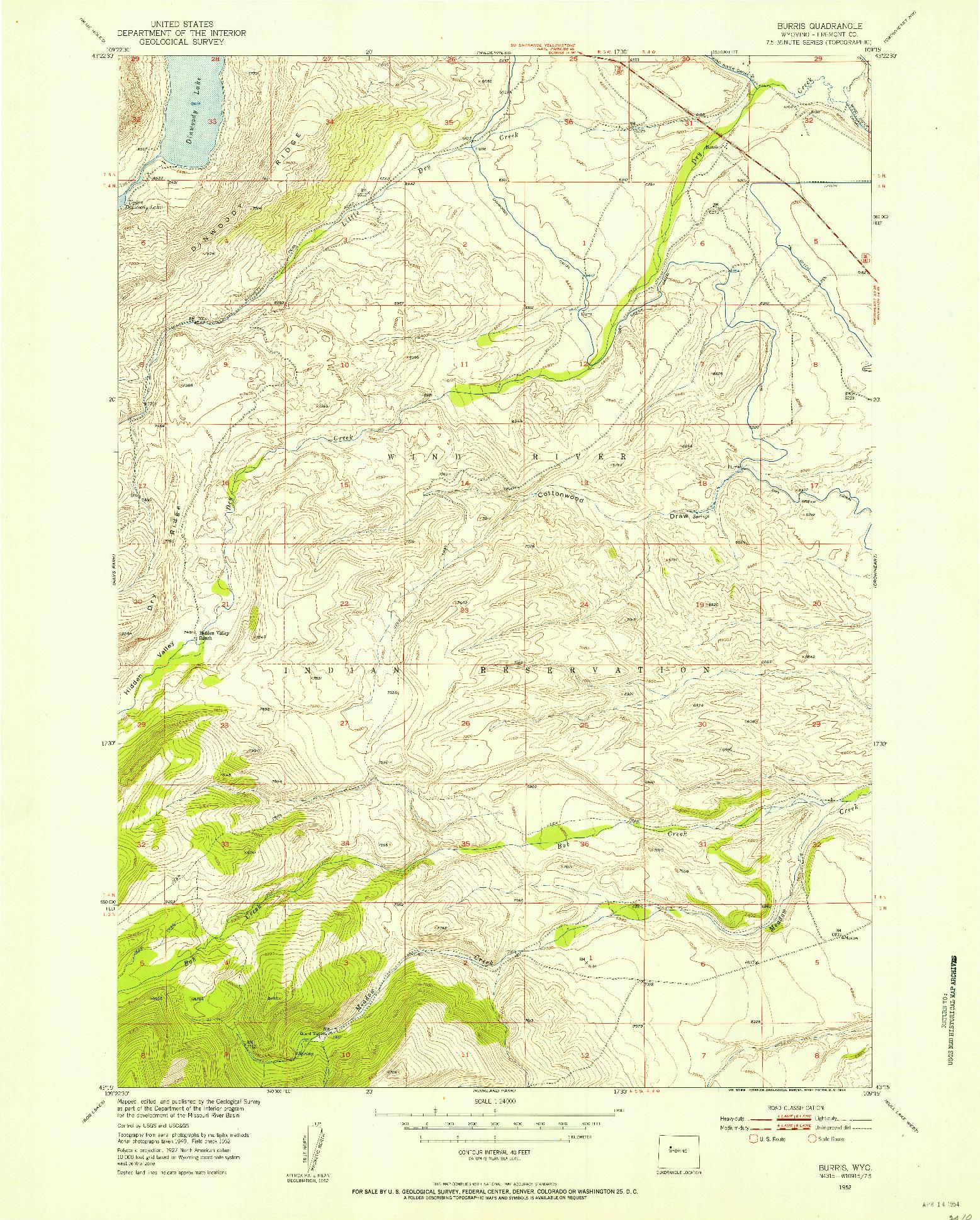 USGS 1:24000-SCALE QUADRANGLE FOR BURRIS, WY 1952