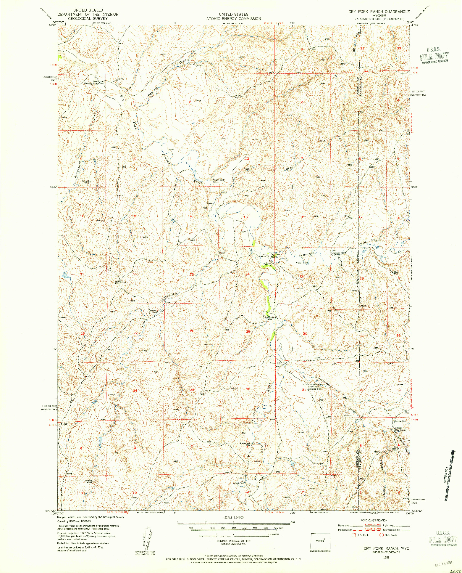 USGS 1:24000-SCALE QUADRANGLE FOR DRY FORK RANCH, WY 1953