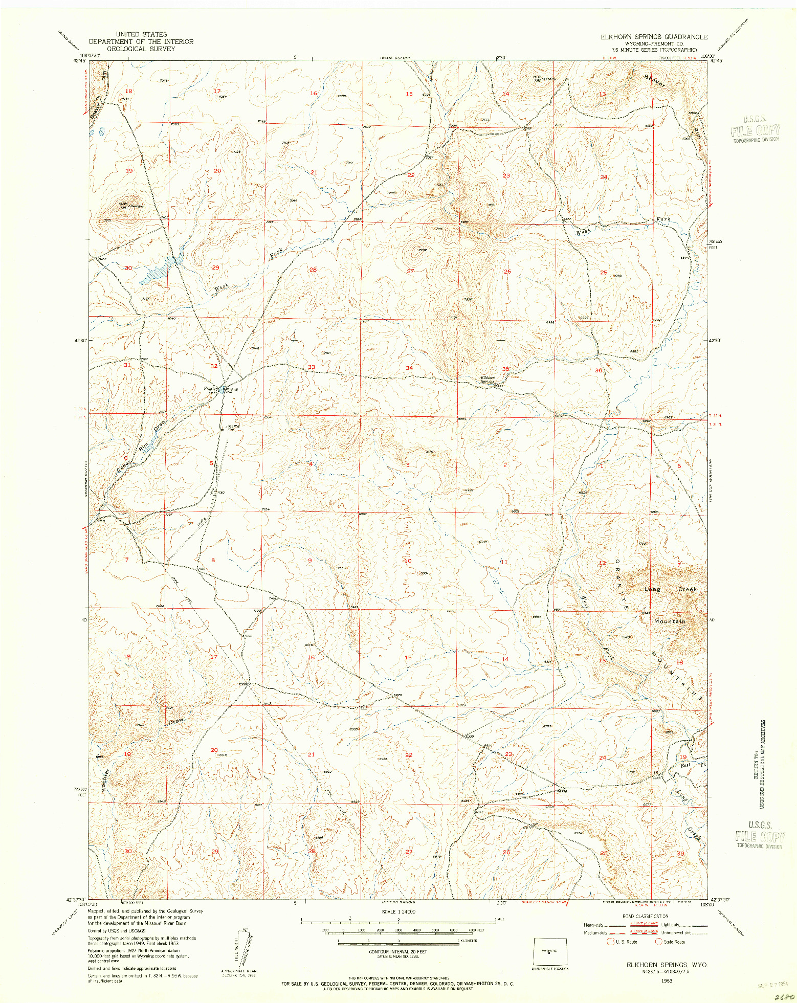 USGS 1:24000-SCALE QUADRANGLE FOR ELKHORN SPRINGS, WY 1953