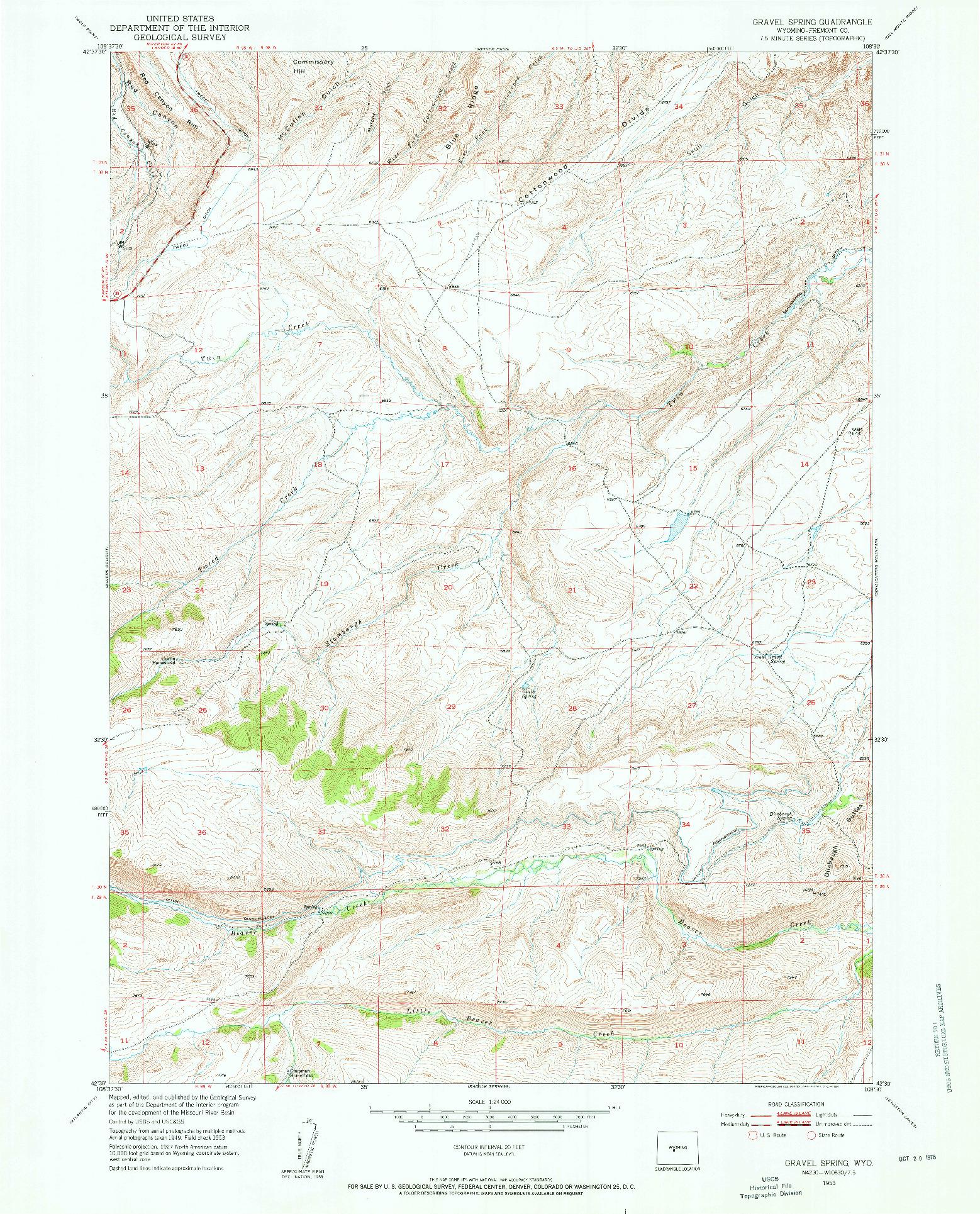 USGS 1:24000-SCALE QUADRANGLE FOR GRAVEL SPRING, WY 1953