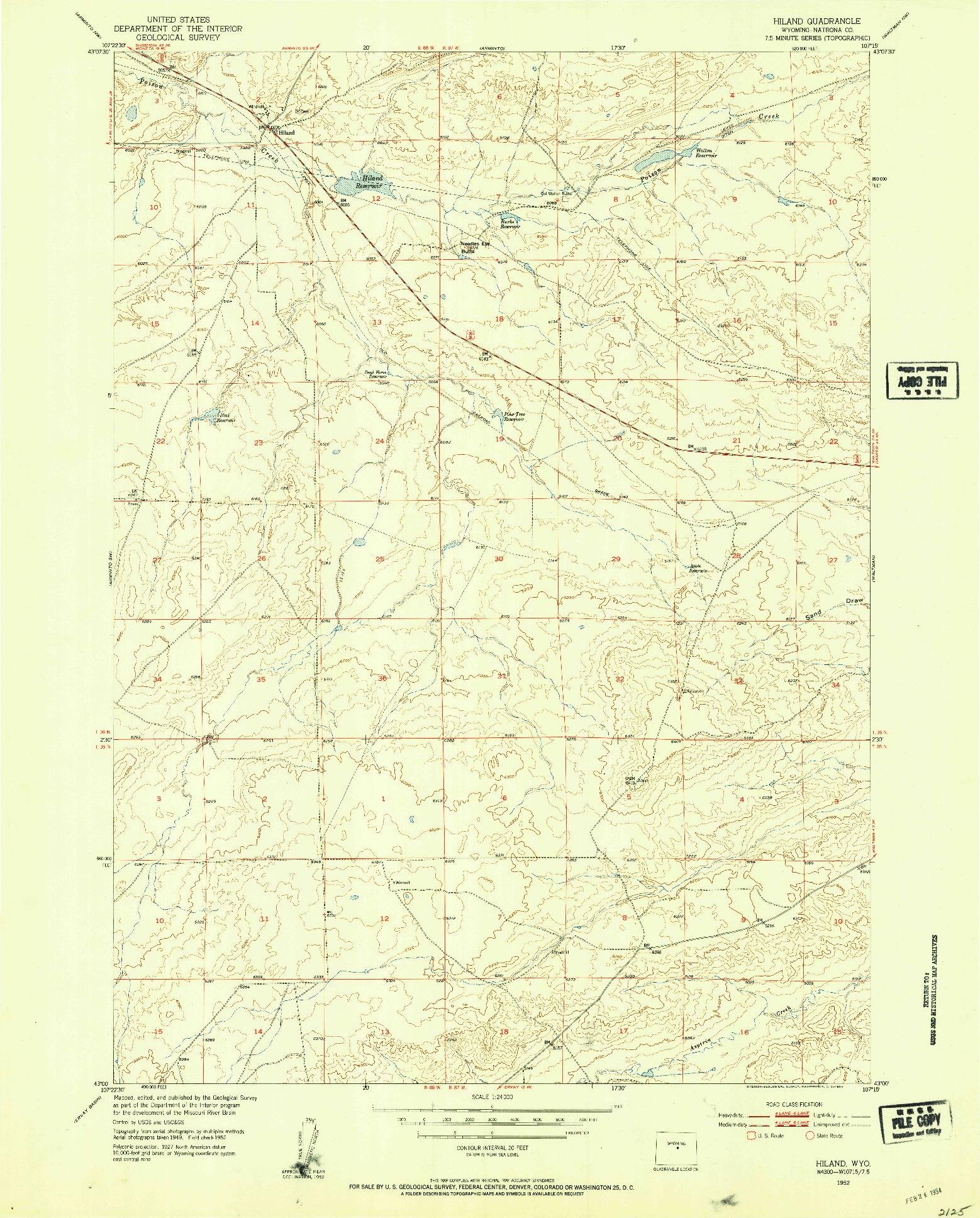USGS 1:24000-SCALE QUADRANGLE FOR HILAND, WY 1952