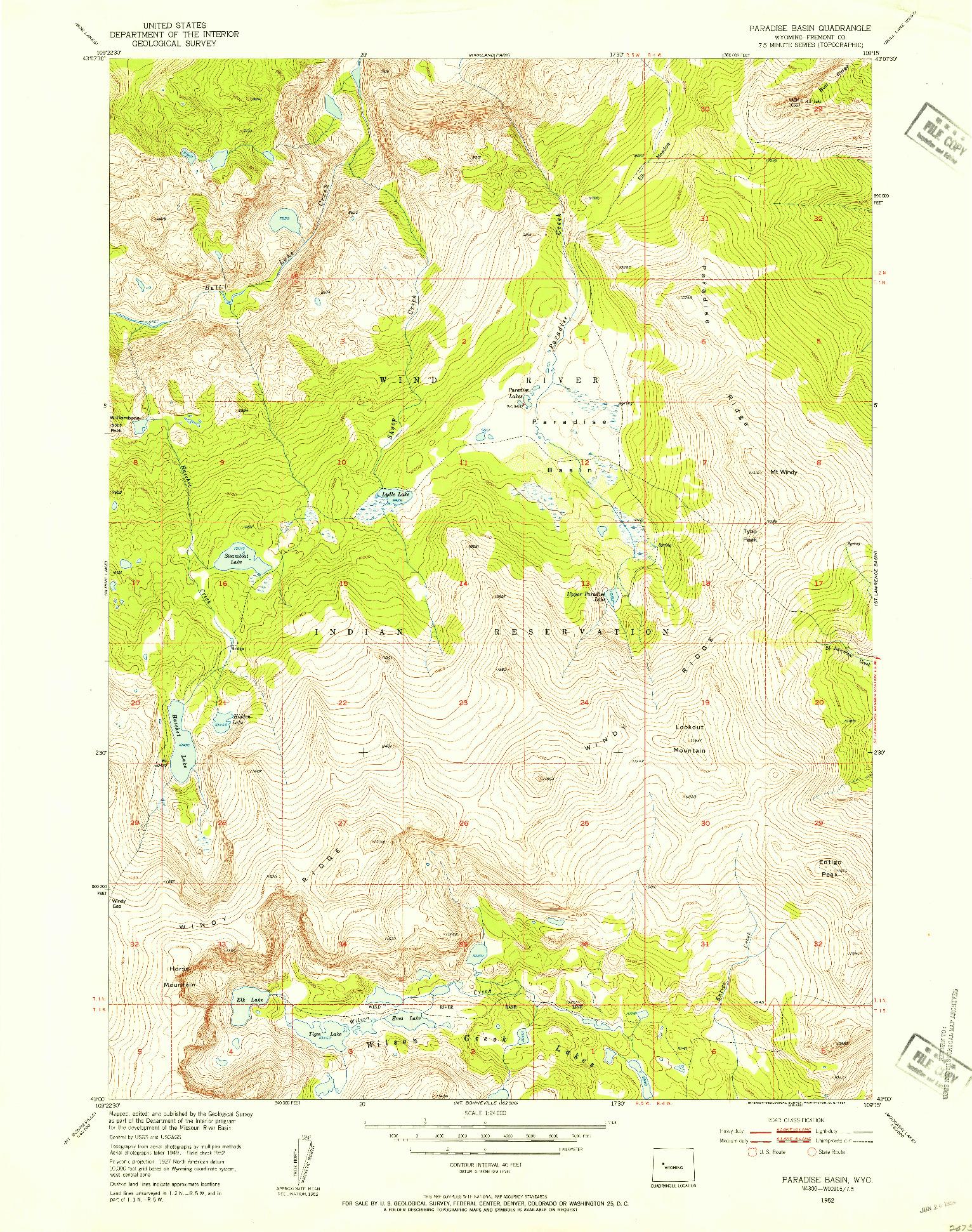 USGS 1:24000-SCALE QUADRANGLE FOR PARADISE BASIN, WY 1952