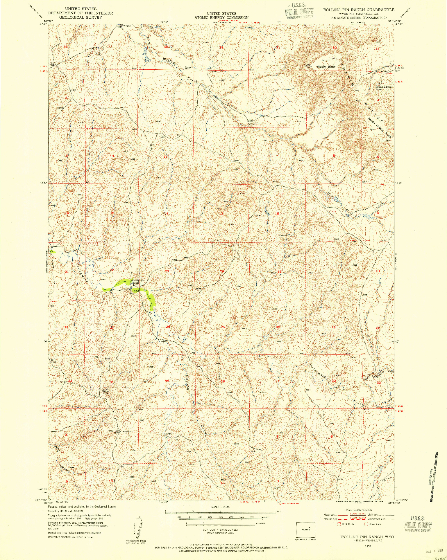 USGS 1:24000-SCALE QUADRANGLE FOR ROLLING PIN RANCH, WY 1953
