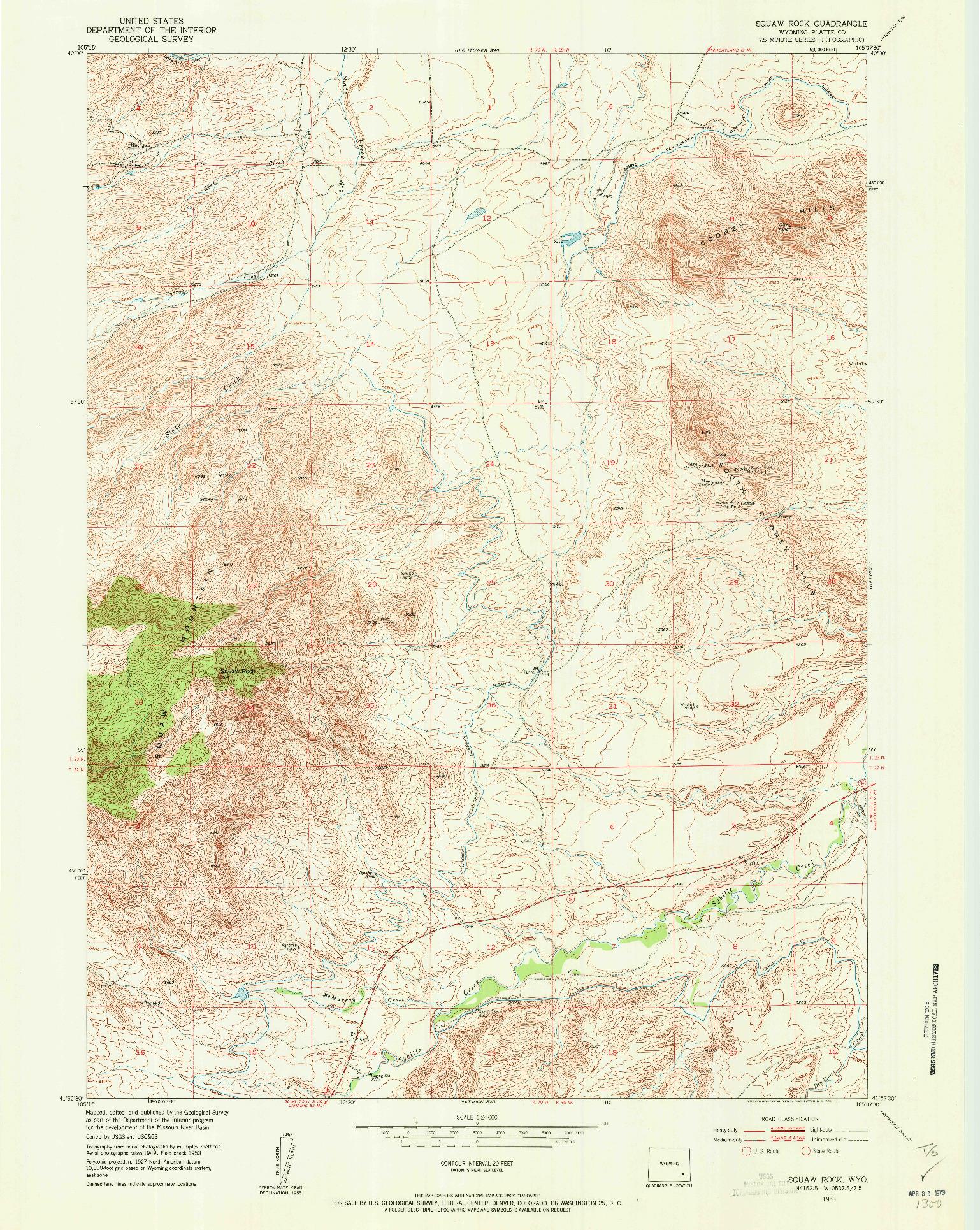 USGS 1:24000-SCALE QUADRANGLE FOR SQUAW ROCK, WY 1953