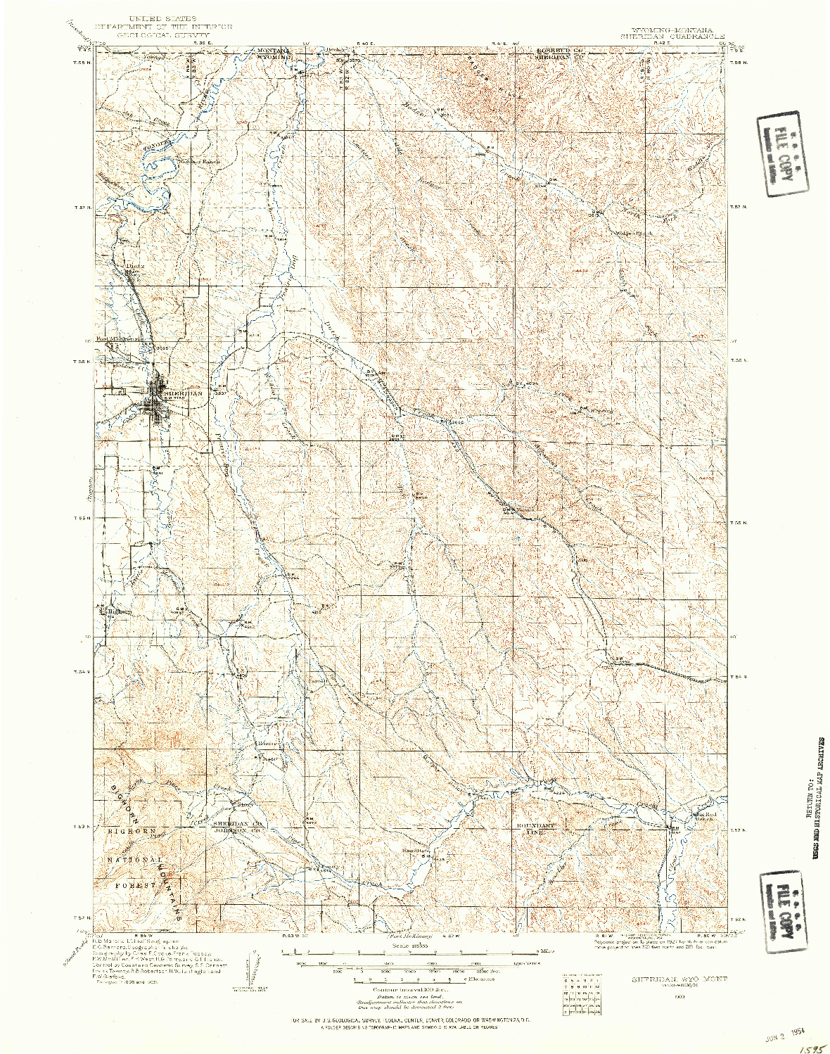 USGS 1:125000-SCALE QUADRANGLE FOR SHERIDAN, WY 1909