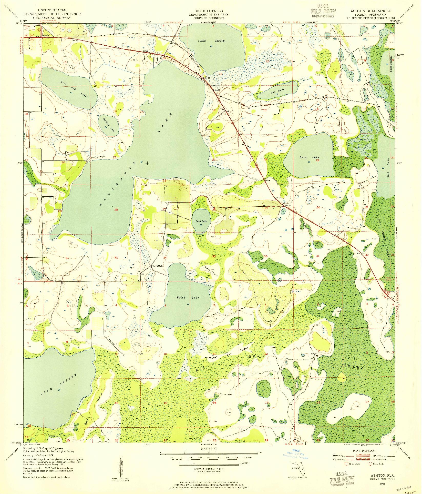 USGS 1:24000-SCALE QUADRANGLE FOR ASHTON, FL 1953
