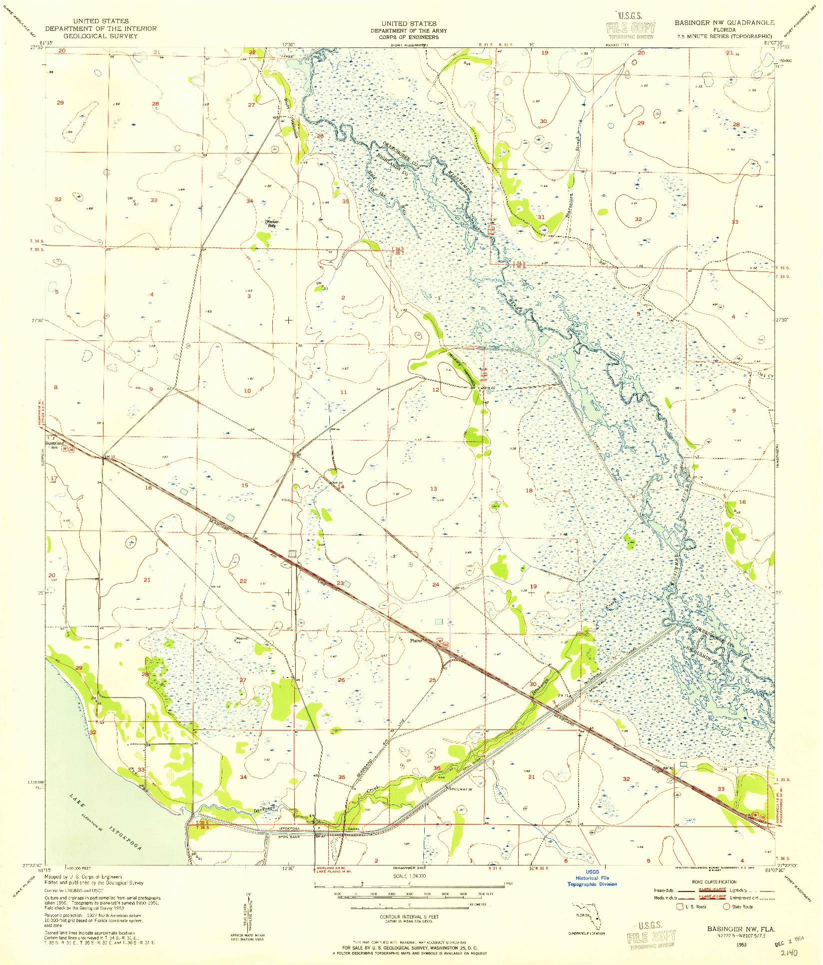 USGS 1:24000-SCALE QUADRANGLE FOR BASINGER NW, FL 1953
