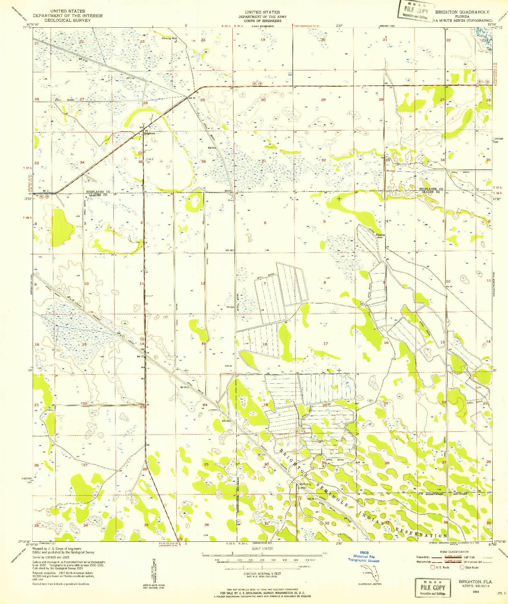 USGS 1:24000-SCALE QUADRANGLE FOR BRIGHTON, FL 1953