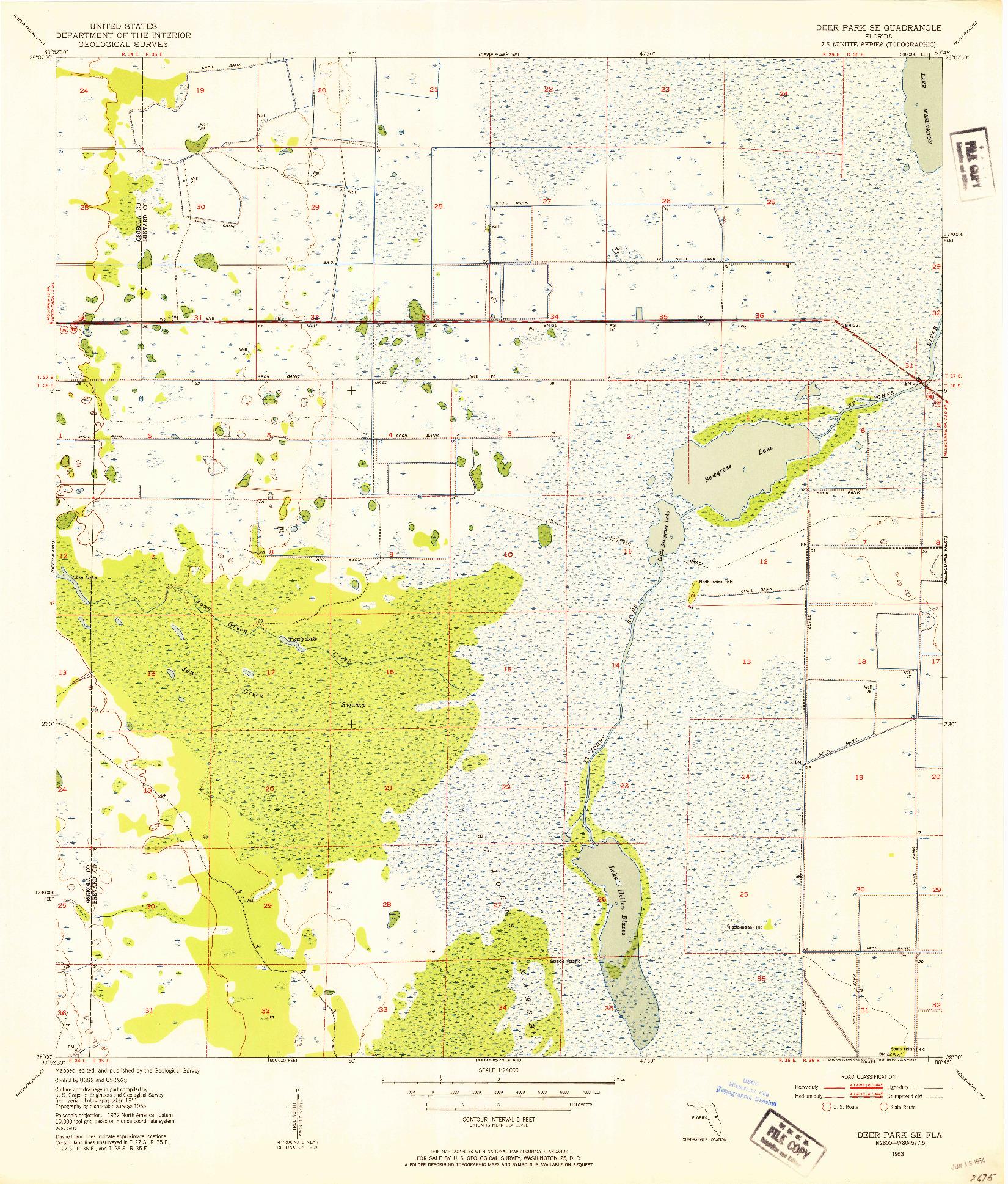 USGS 1:24000-SCALE QUADRANGLE FOR DEER PARK SE, FL 1953