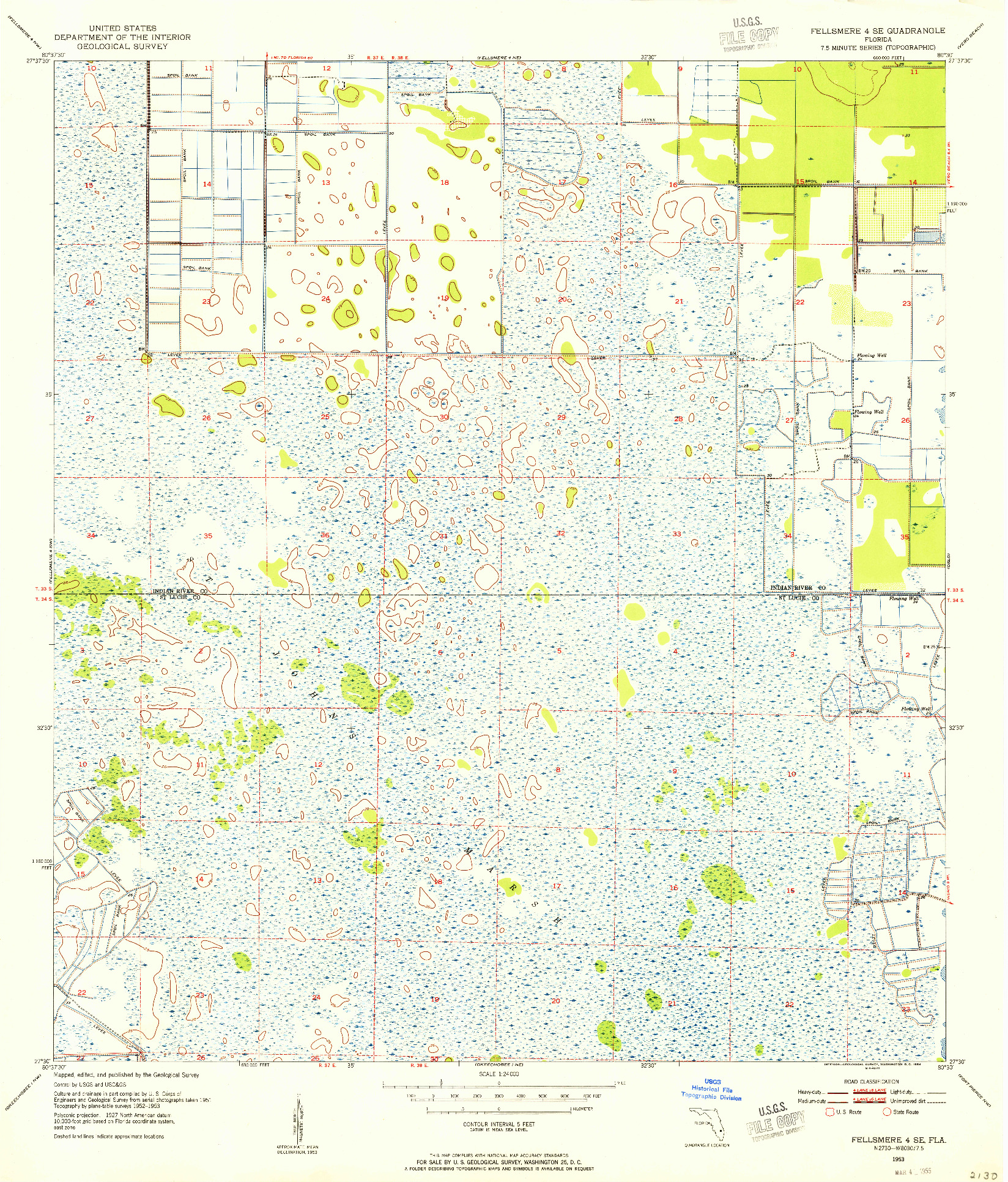 USGS 1:24000-SCALE QUADRANGLE FOR FELLSMERE 4 SE, FL 1953