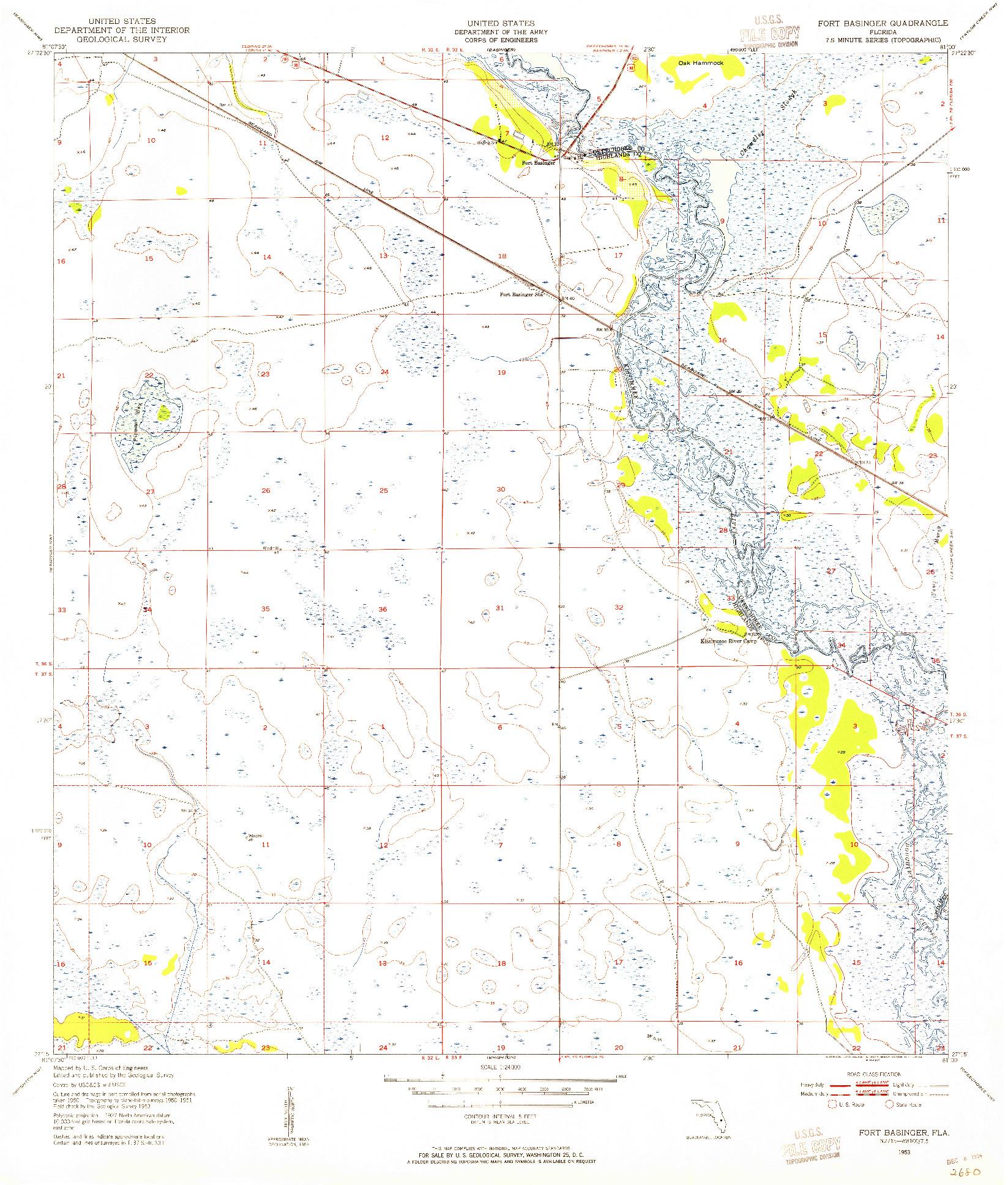 USGS 1:24000-SCALE QUADRANGLE FOR FORT BASINGER, FL 1953
