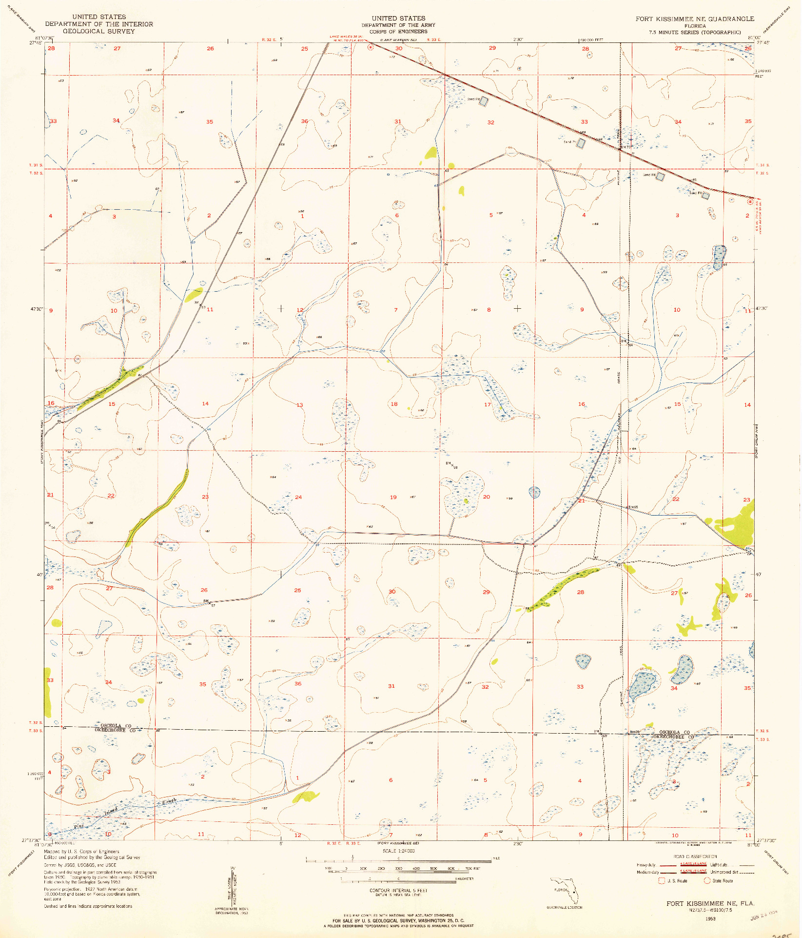 USGS 1:24000-SCALE QUADRANGLE FOR FORT KISSIMMEE NE, FL 1953