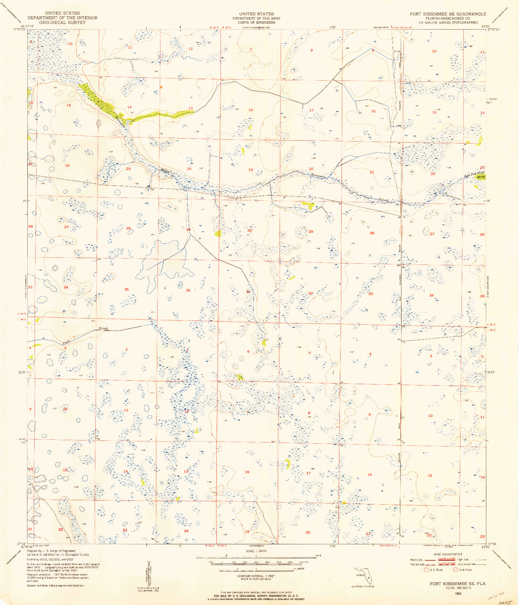 USGS 1:24000-SCALE QUADRANGLE FOR FORT KISSIMMEE SE, FL 1953