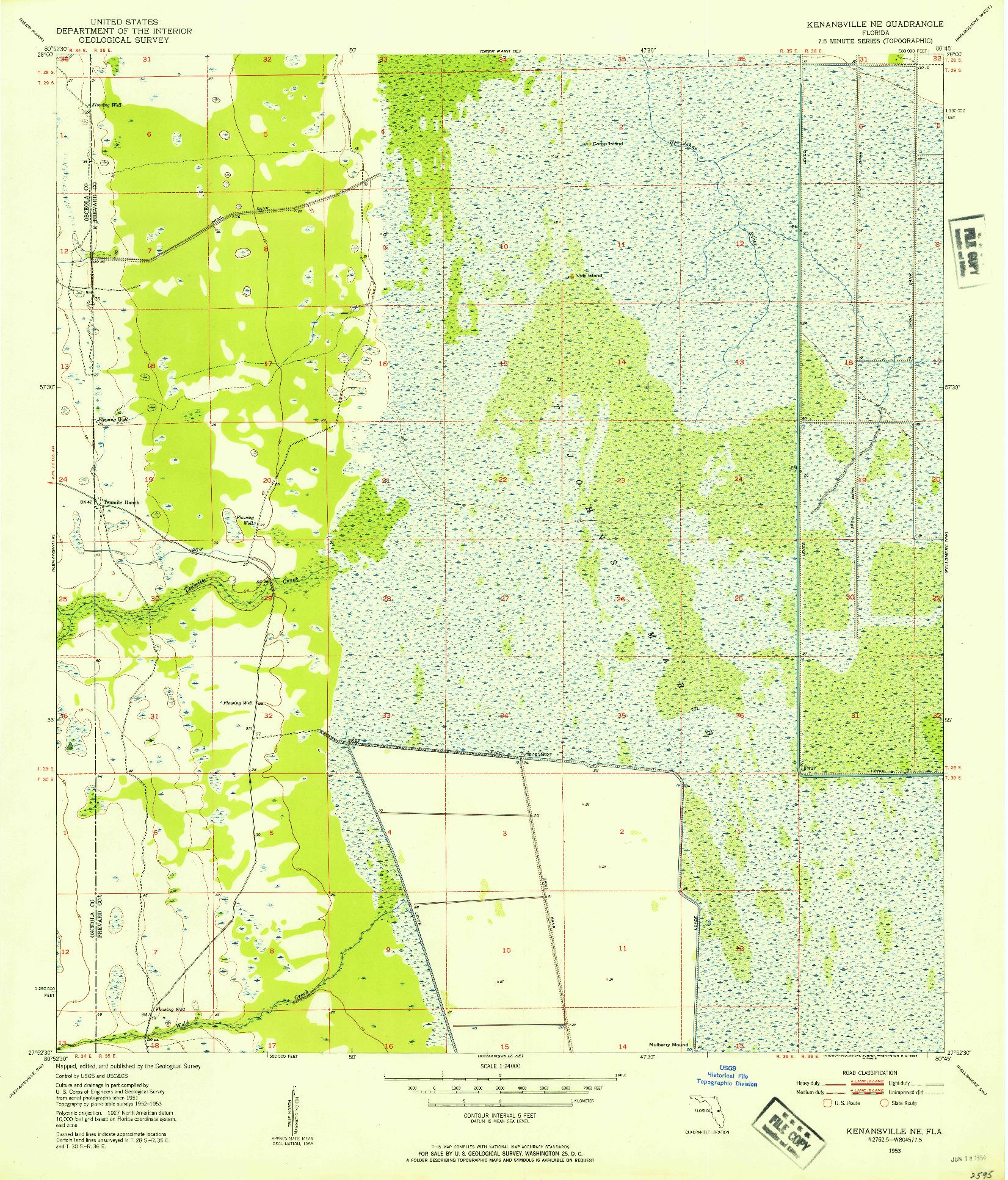 USGS 1:24000-SCALE QUADRANGLE FOR KENANSVILLE NE, FL 1953