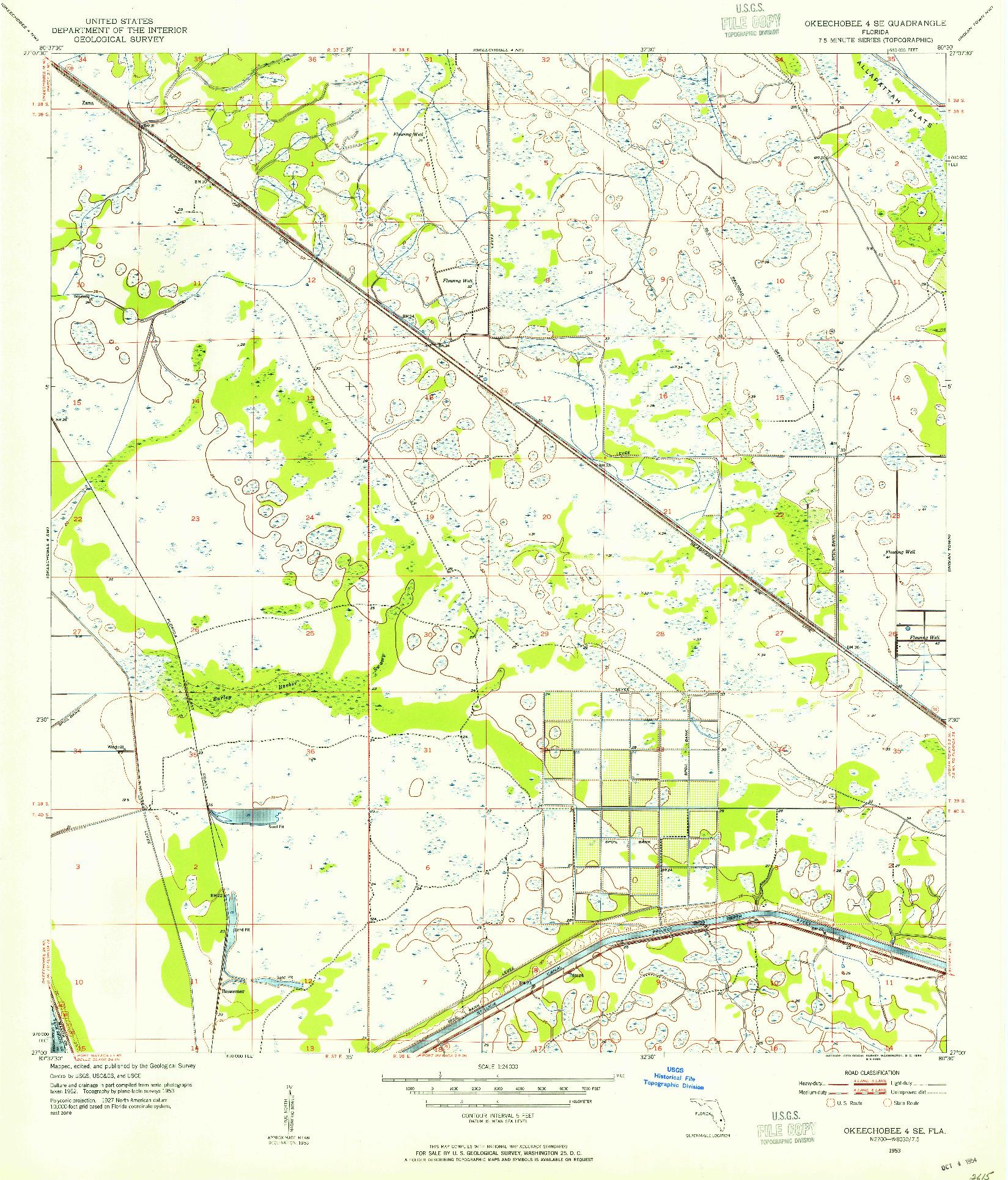 USGS 1:24000-SCALE QUADRANGLE FOR OKEECHOBEE 4 SE, FL 1953