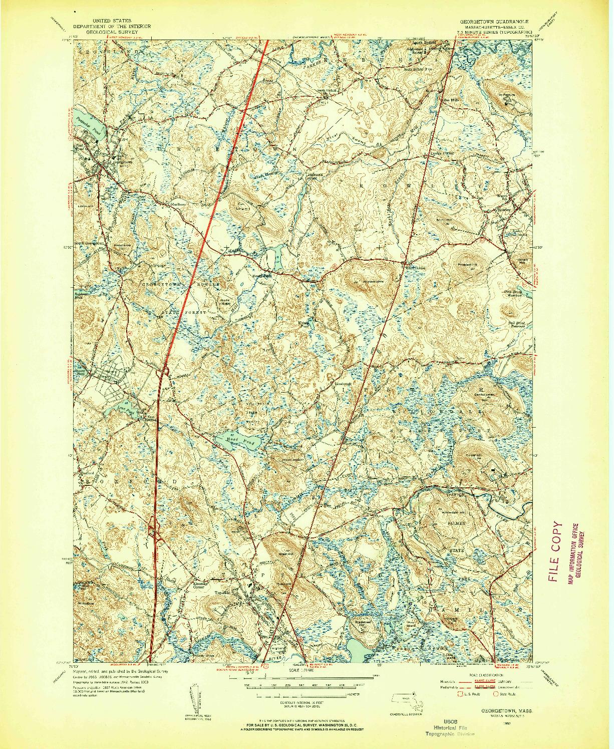 USGS 1:31680-SCALE QUADRANGLE FOR GEORGETOWN, MA 1953