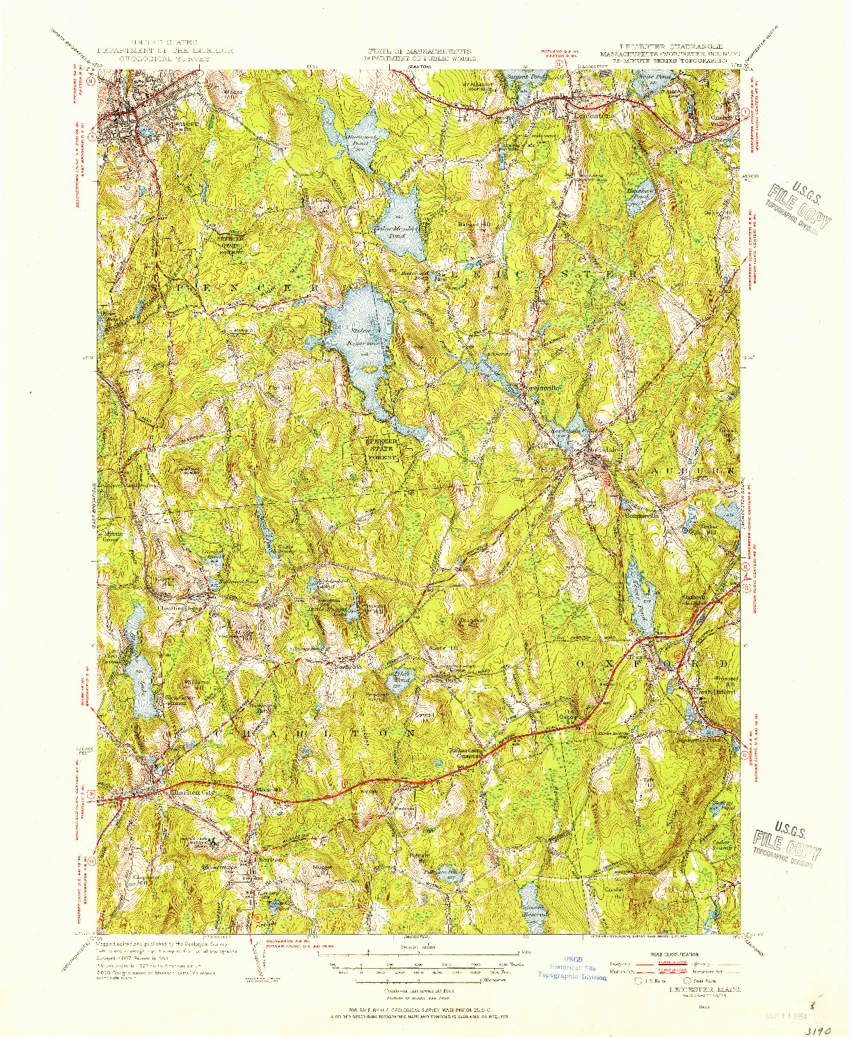 USGS 1:31680-SCALE QUADRANGLE FOR LEICESTER, MA 1953