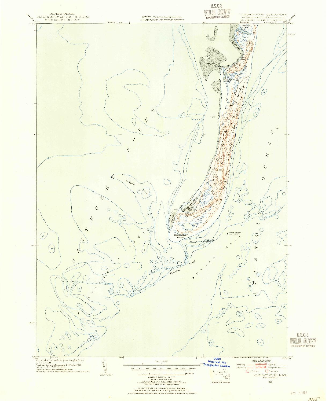 USGS 1:31680-SCALE QUADRANGLE FOR MONOMOY POINT, MA 1953