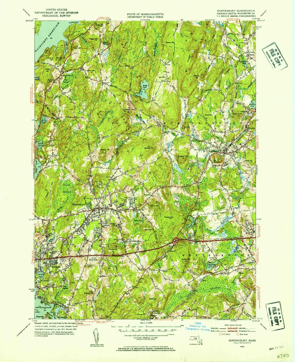USGS 1:31680-SCALE QUADRANGLE FOR SHREWSBURY, MA 1953