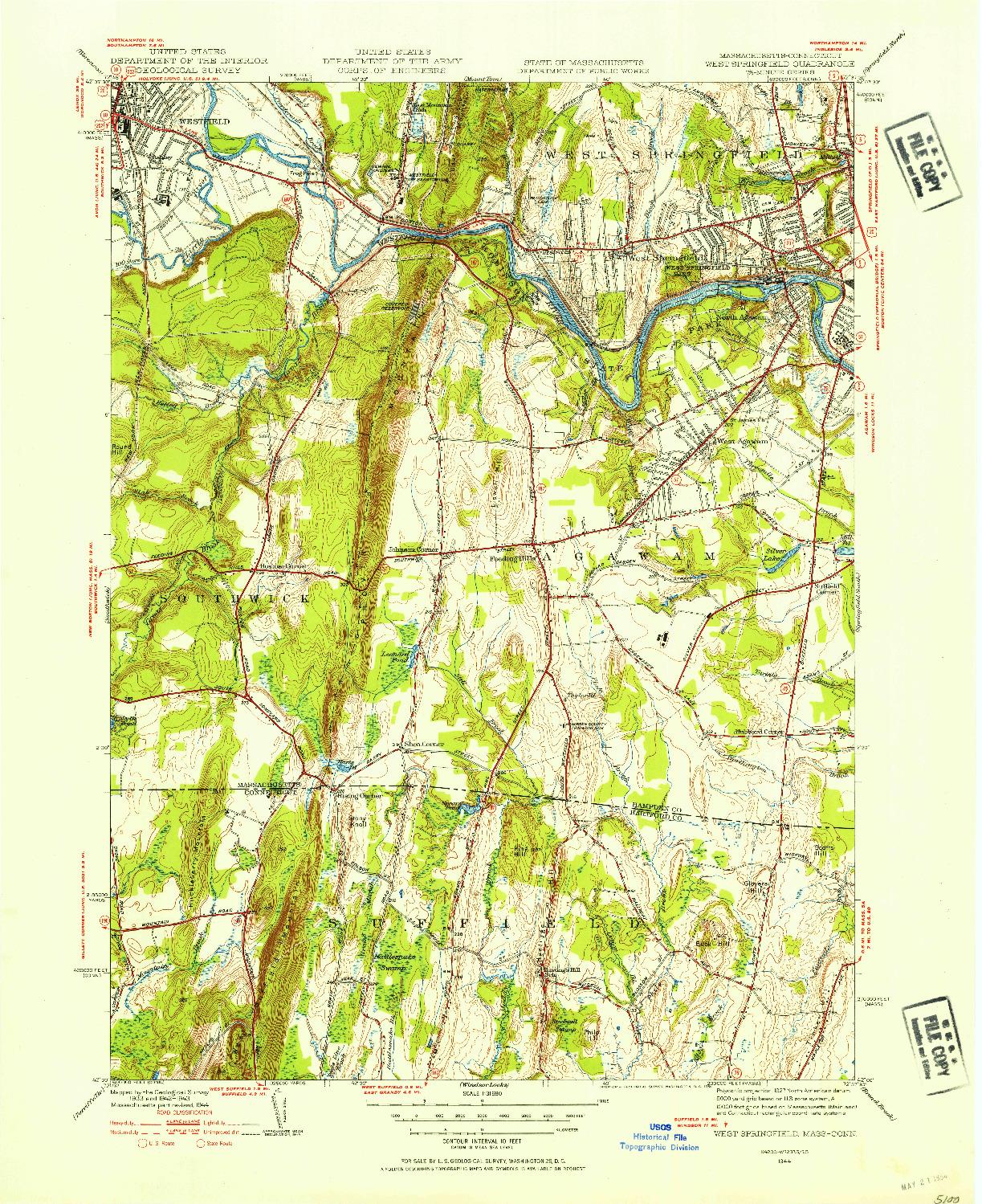 USGS 1:31680-SCALE QUADRANGLE FOR WEST SPRINGFIELD, MA 1944