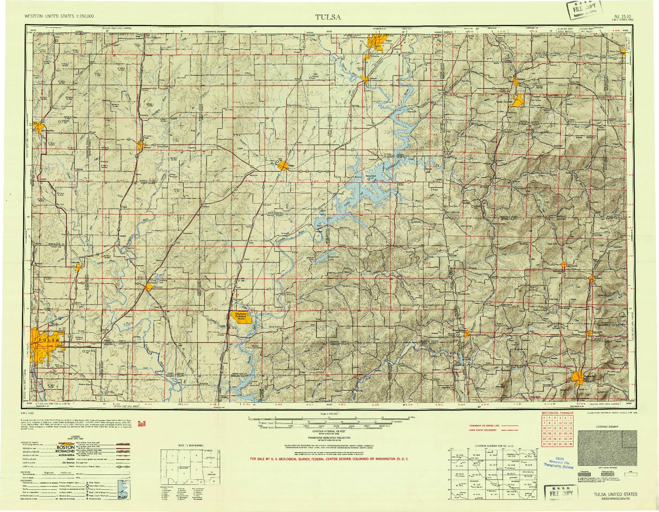 USGS 1:250000-SCALE QUADRANGLE FOR TULSA, OK 1954