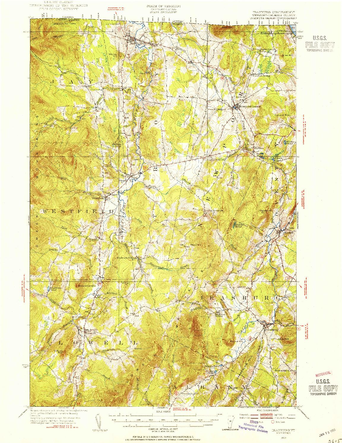 USGS 1:62500-SCALE QUADRANGLE FOR IRASBURG, VT 1953
