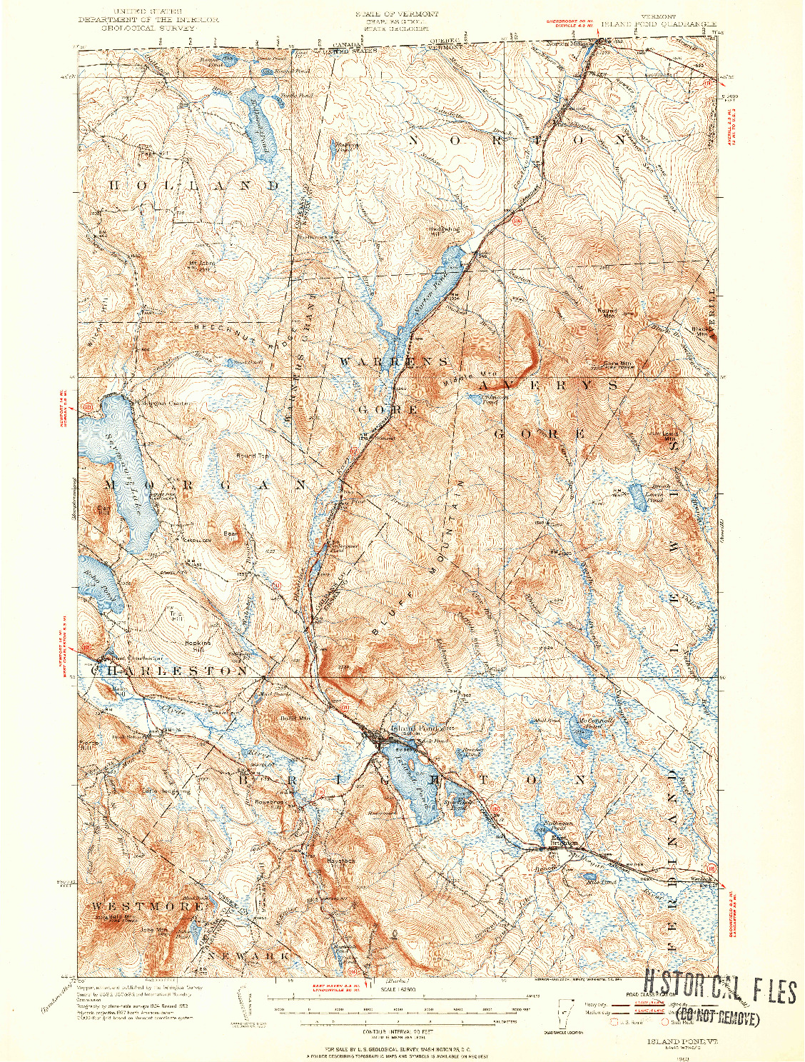 USGS 1:62500-SCALE QUADRANGLE FOR ISLAND POND, VT 1953