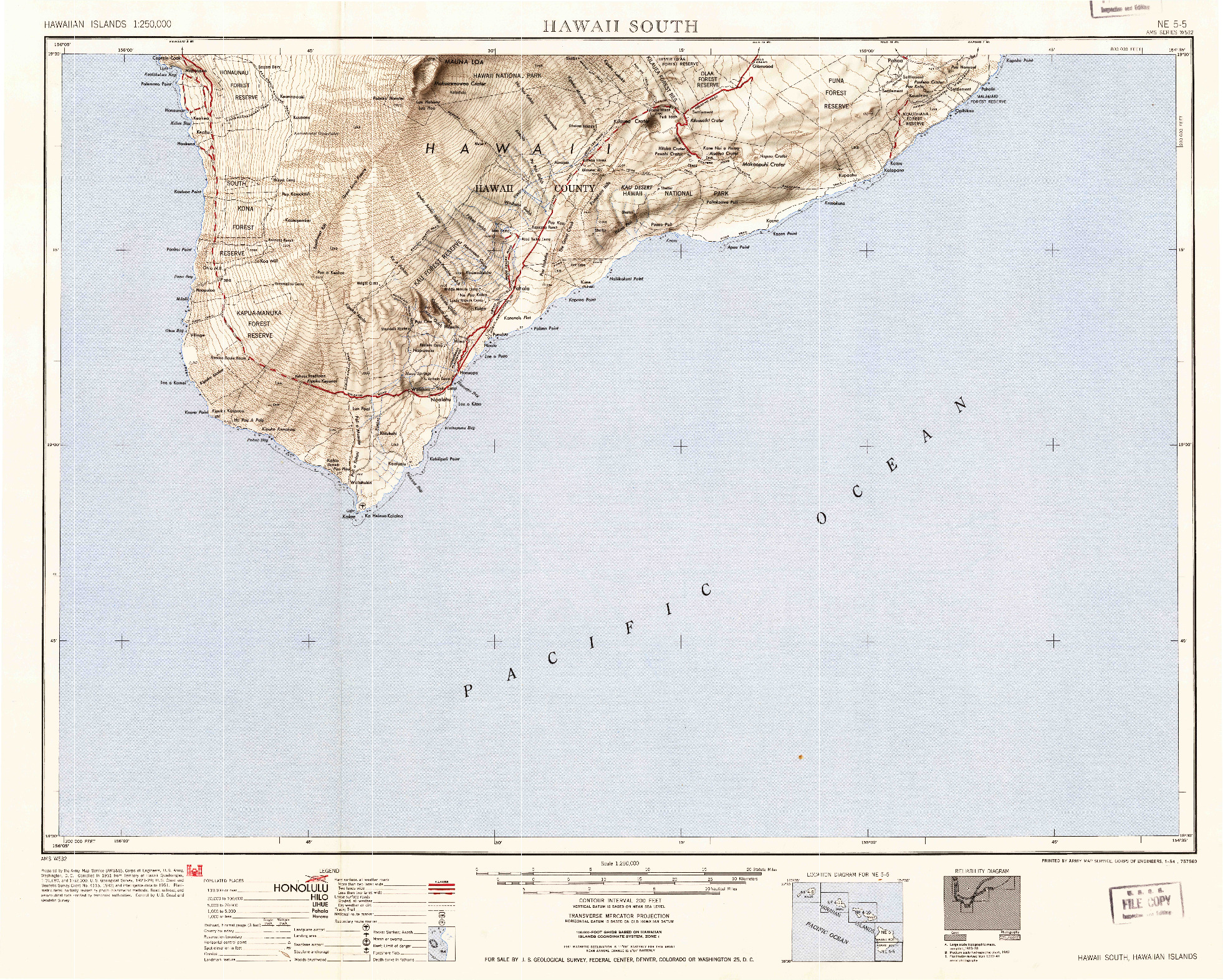 USGS 1:250000-SCALE QUADRANGLE FOR HAWAII SOUTH, HI 1954