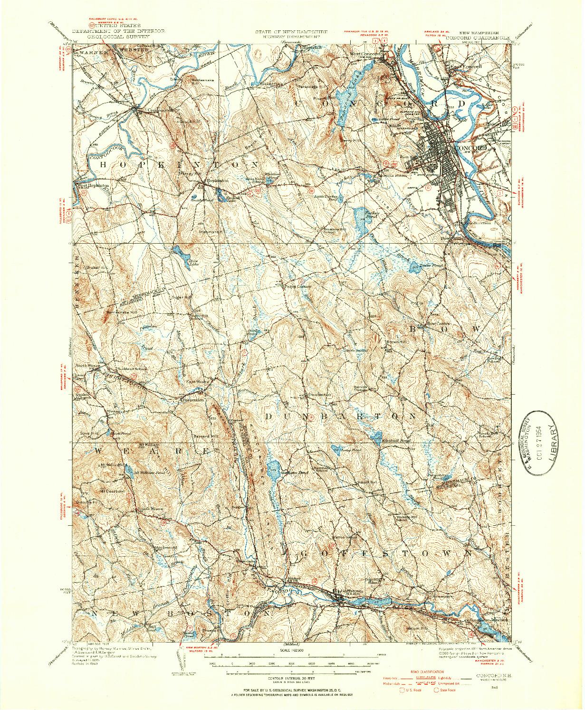 USGS 1:62500-SCALE QUADRANGLE FOR CONCORD, NH 1949
