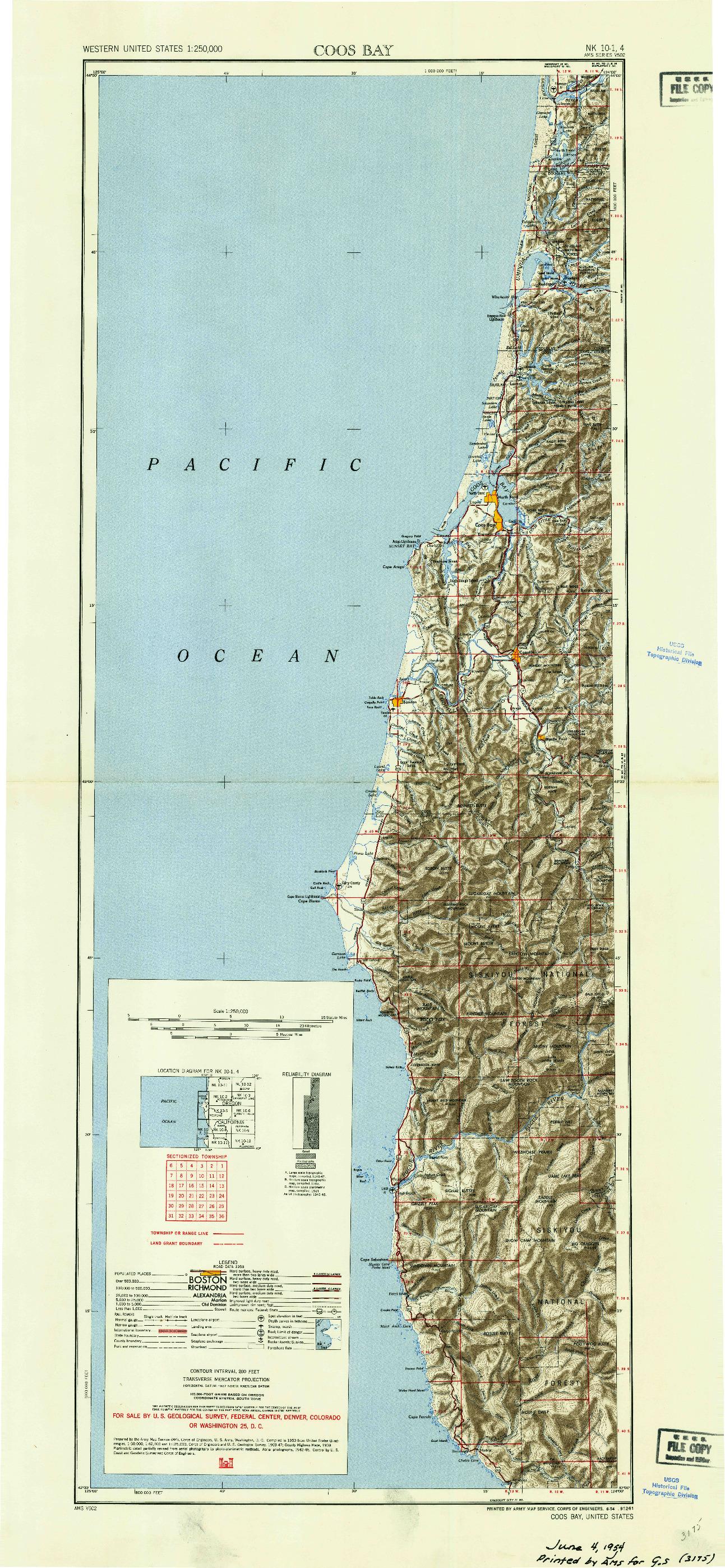 USGS 1:250000-SCALE QUADRANGLE FOR COOS BAY, OR 1954