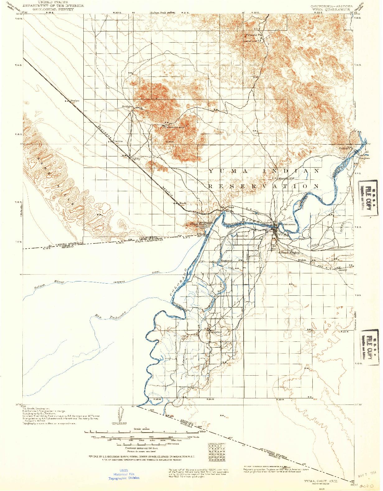 USGS 1:125000-SCALE QUADRANGLE FOR YUMA, CA 1903