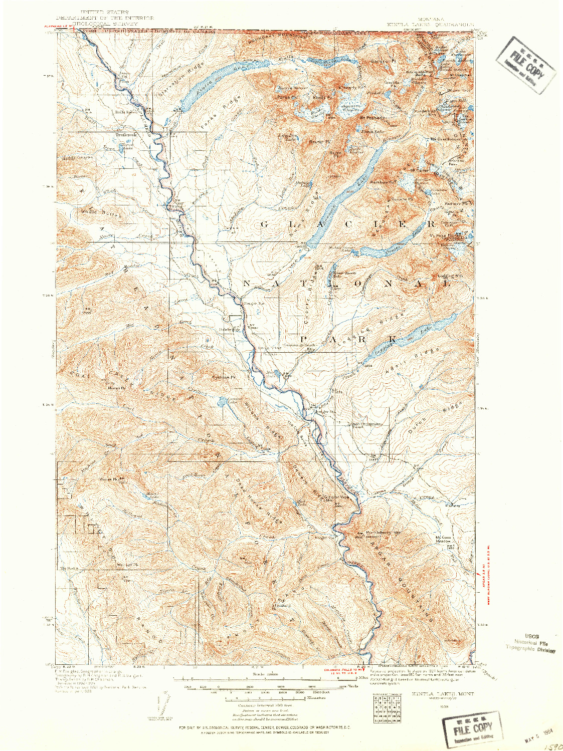 USGS 1:125000-SCALE QUADRANGLE FOR KINTLA LAKES, MT 1938